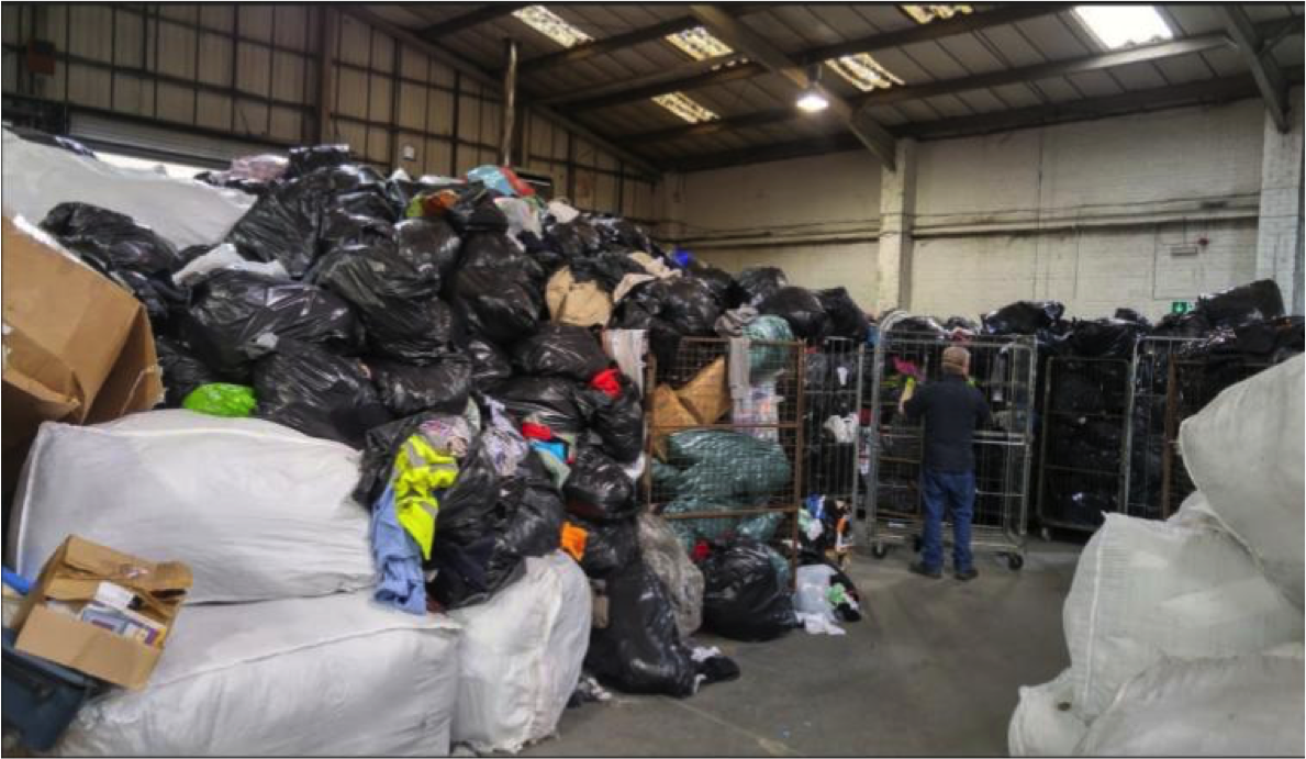 Donations arrive @ Traid, in bin bags that looks like trash