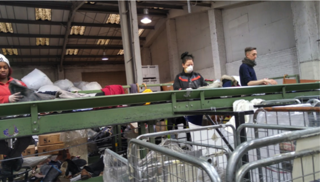 Staff on conveyor belt sorting the clothes @ Traid