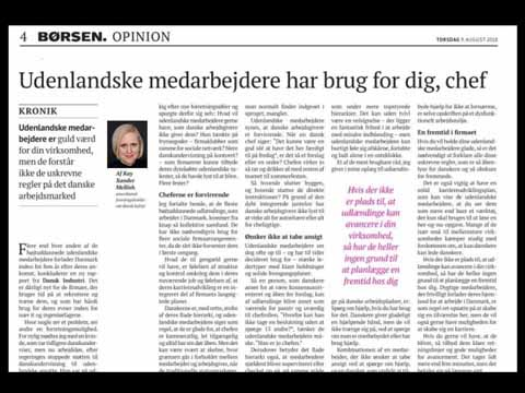FOR BØRSEN: UDENLANDSKE MEDARBEJDERE HAR BRUG FOR DIG, CHEF - Kay speaks directly to Danish executives in this article for Børsen, the country's business daily. While the equality-based Danish culture often leads bosses to act like a