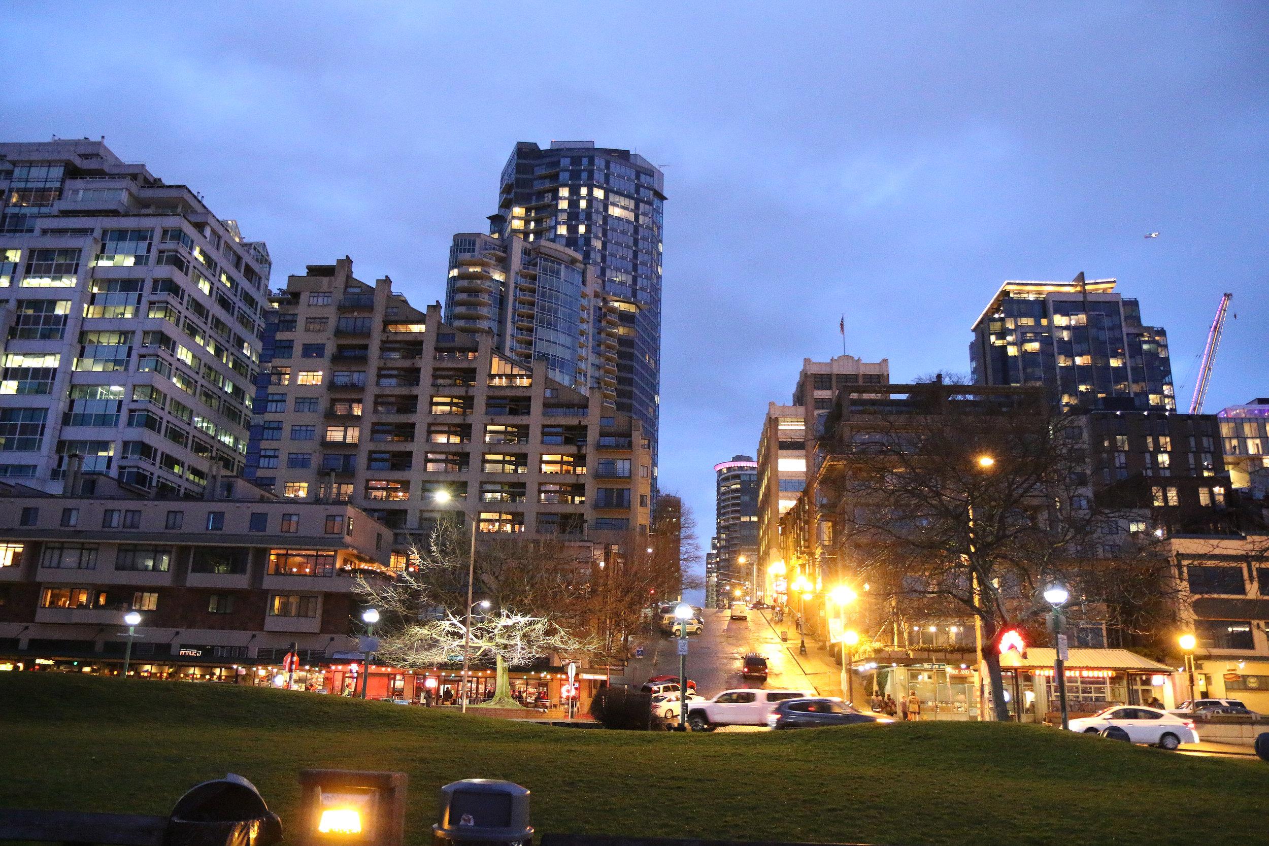 Downtown Seattle, Washington at night.