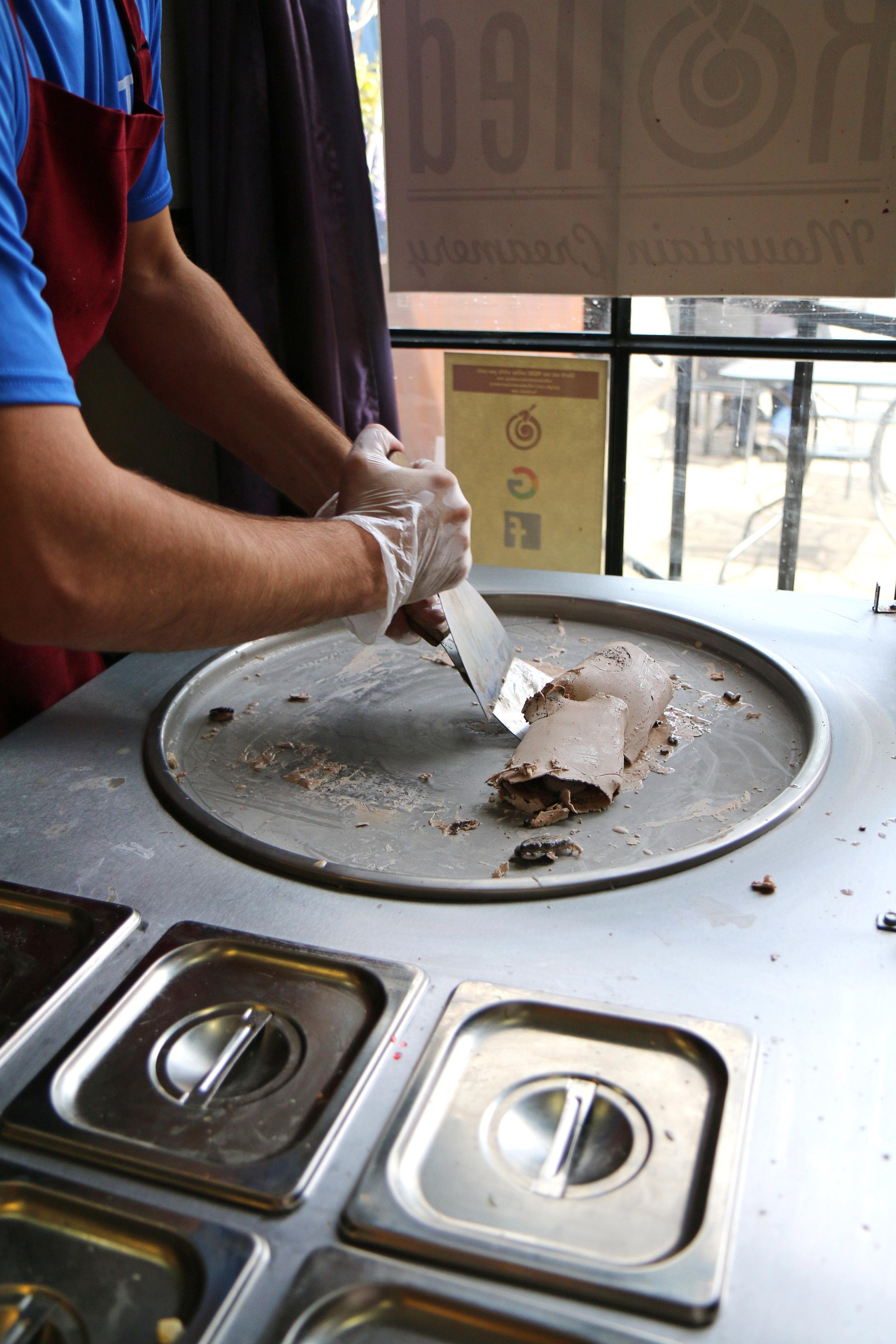 Rolled Mountain Creamery in Reno, Nevada. The BEST rolled ice cream inside Dorinda's Chocolates.
