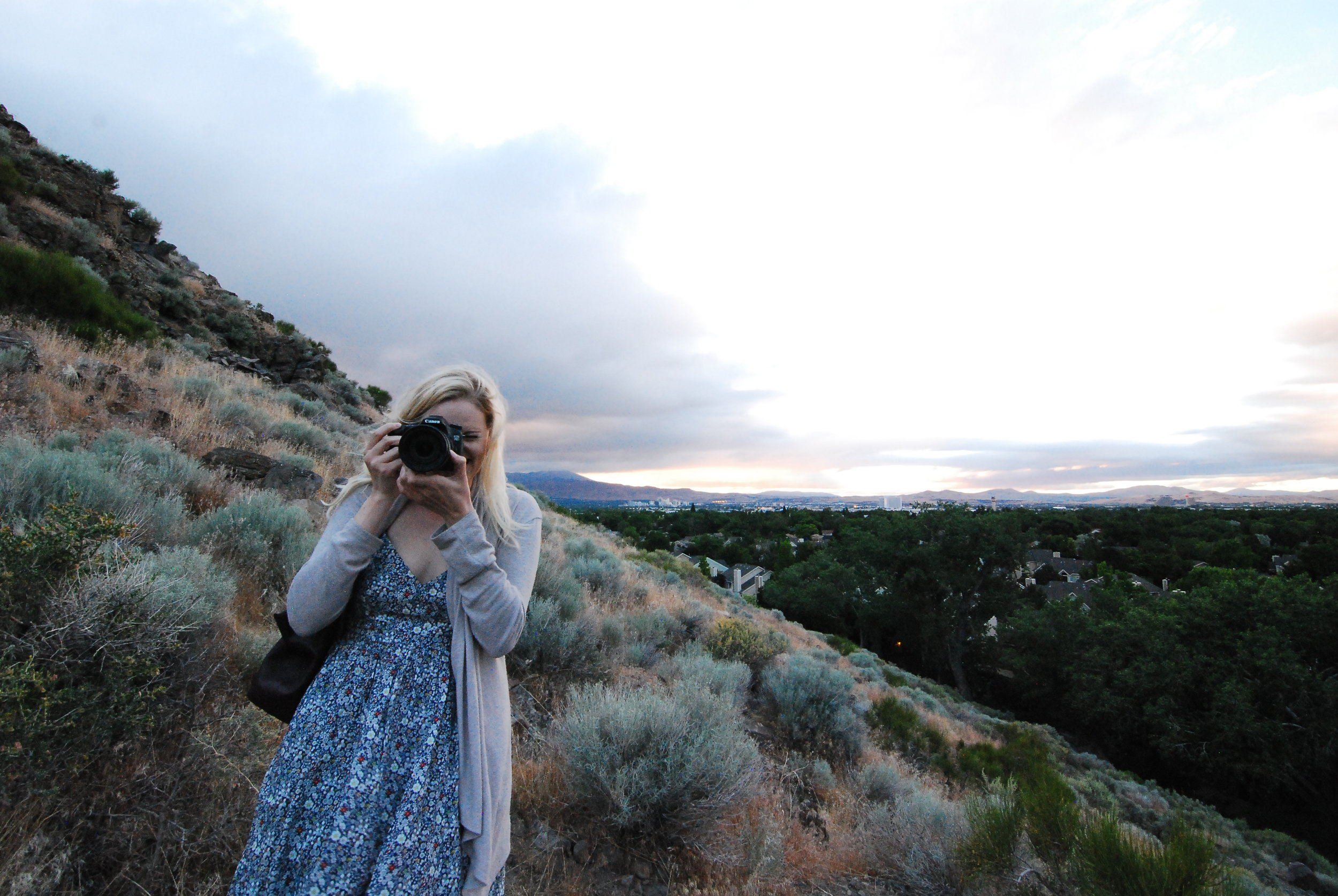 Lifestyle and travel blogger Bri Sul models an adorable J Crew floral dress in Reno, Nevada.