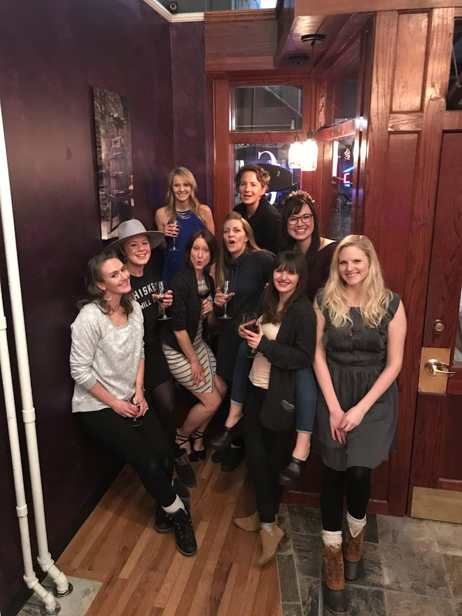 A group photo of girls night at Corx in Bozeman. They were extremely accomidating of all of us and stayed open a litle late as we finished up.