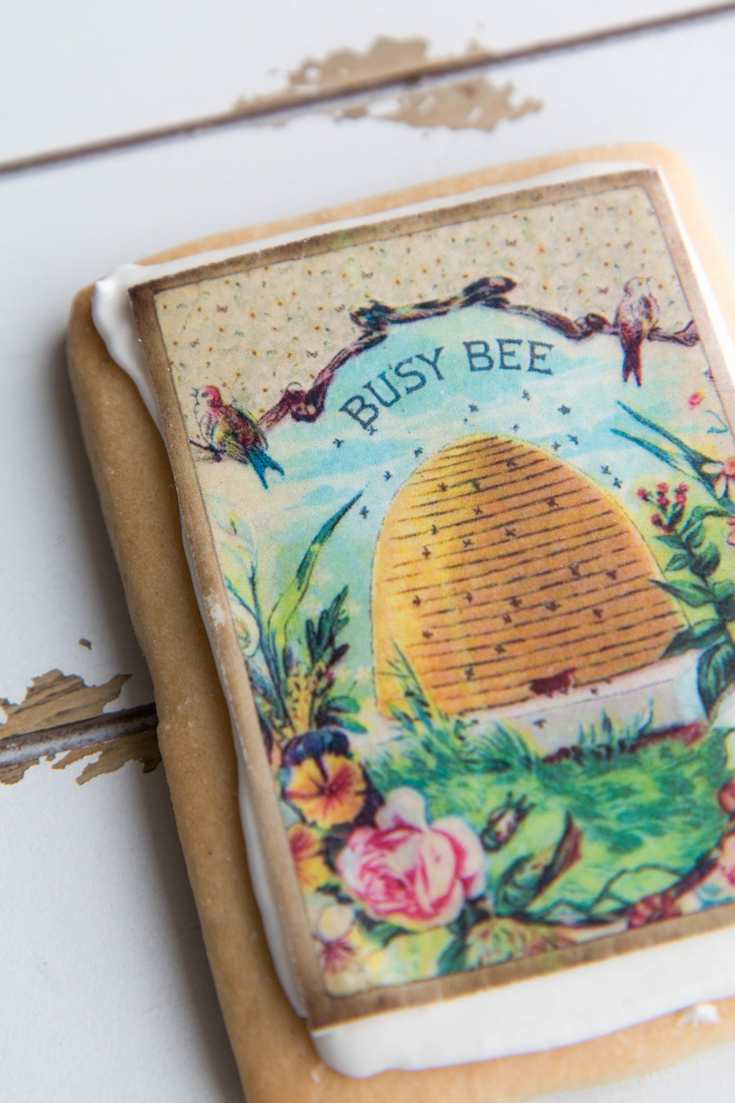 Busy bee sugar cookies with wafer paper by Fancy Flours.
