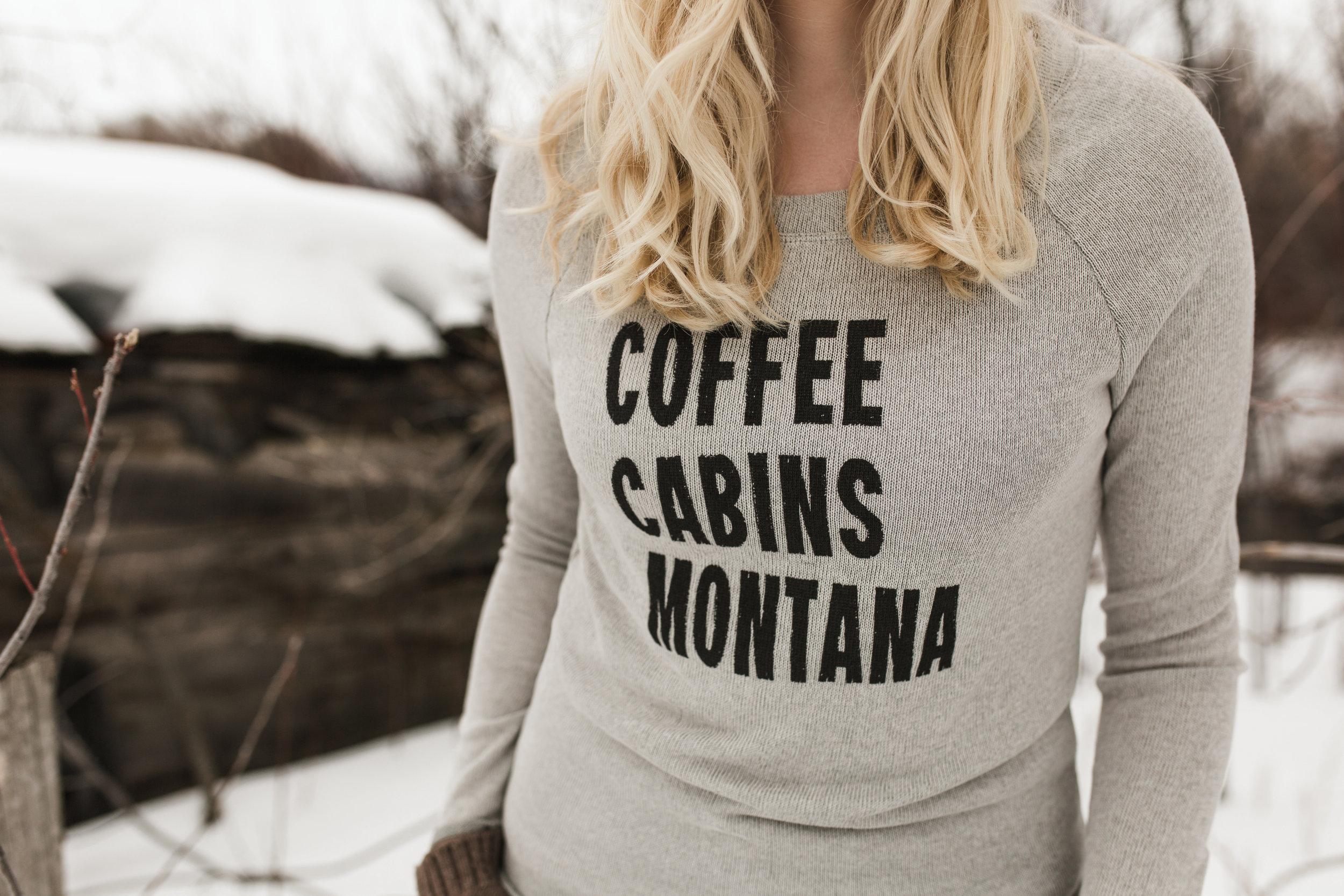 "The Montana Scene ""Coffee Cabins Montana"" tee shirt by blogger Bri Sul"