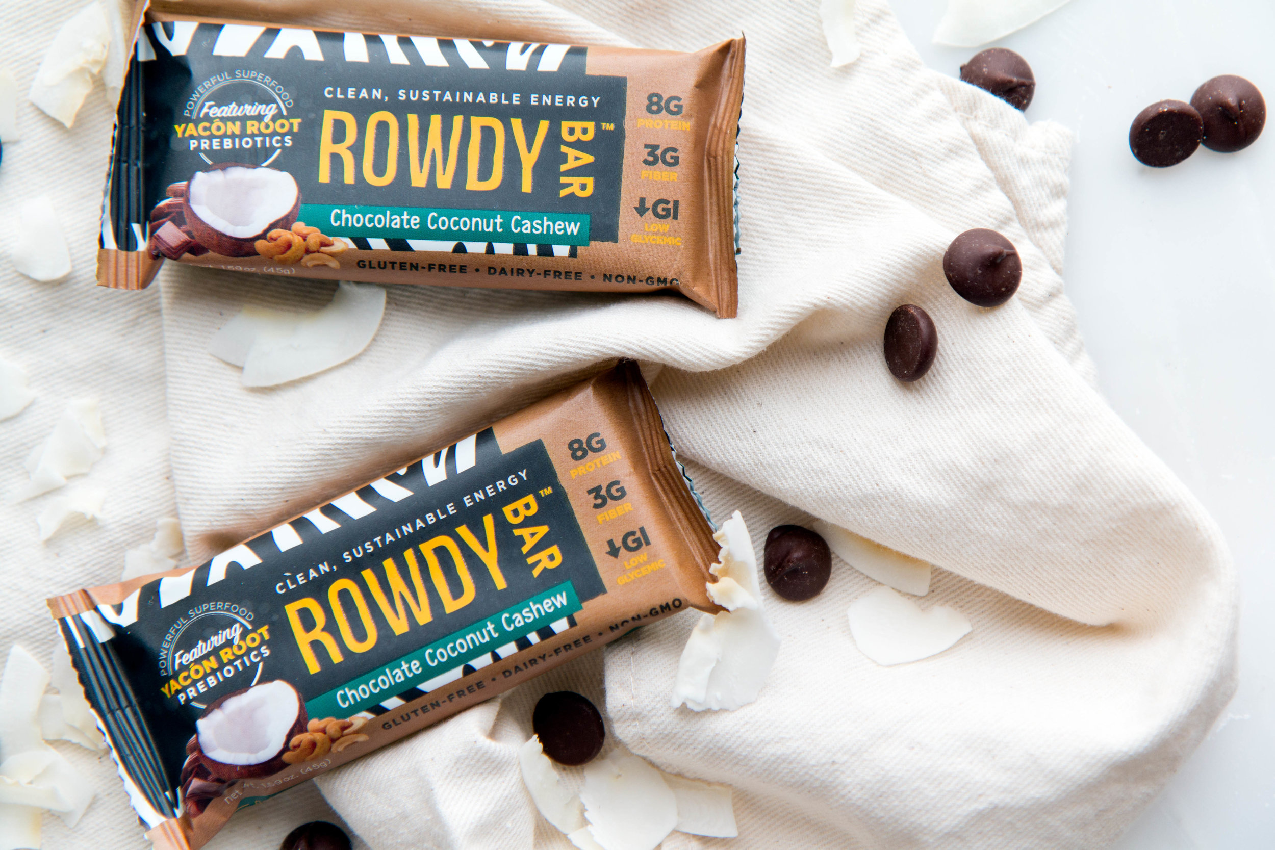 Prebiotic Sustainable Energy Rowdy Bars. 8 Simple Ingredients. Chocolate Coconut Cashew. Gluten-free, low-glycemic index, paleo-friendly, compatible with Whole30.