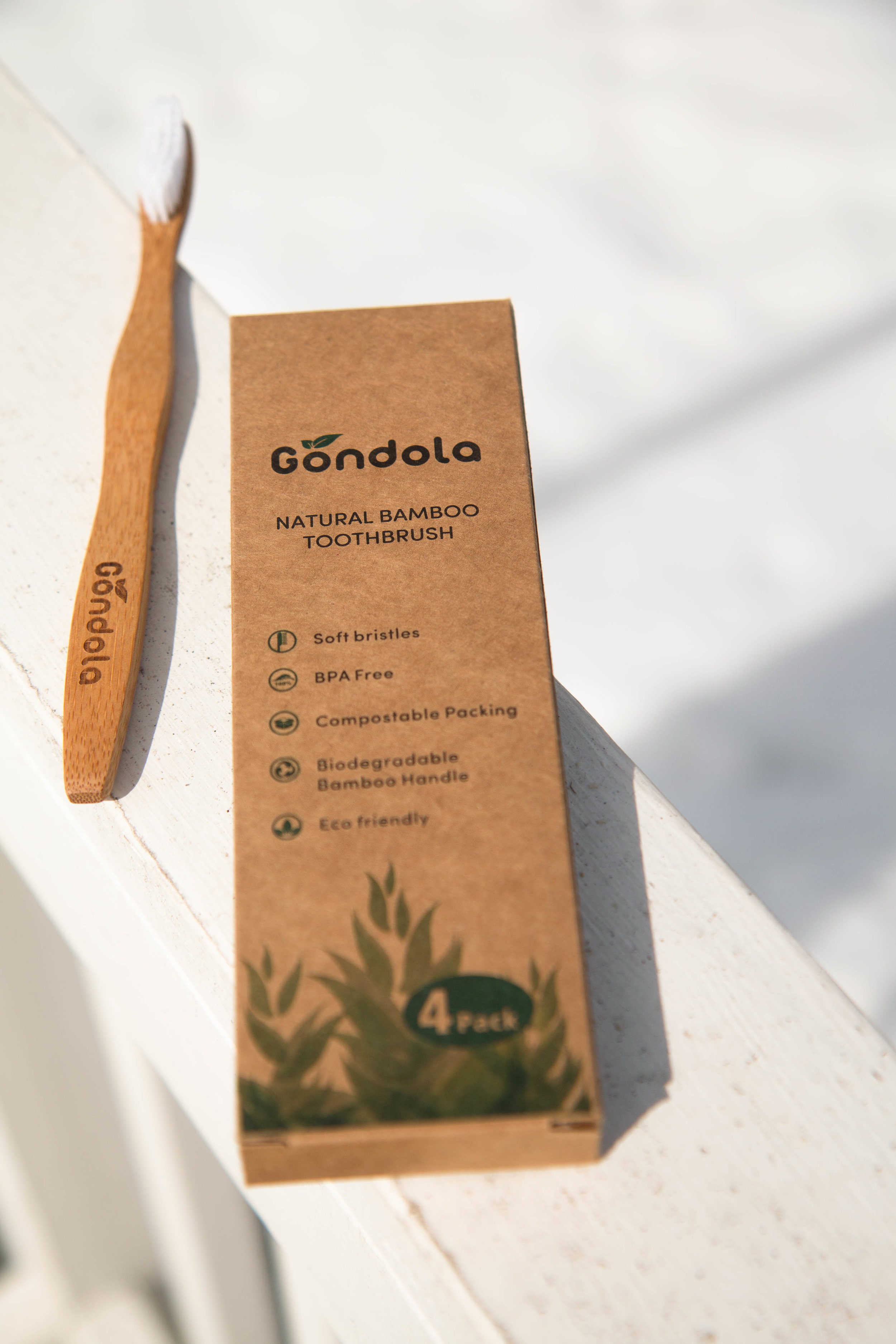 Gondola bamboo toothbrush. 100% biodegradable and eco-friendly. A must have for those going plastic free and zero waste