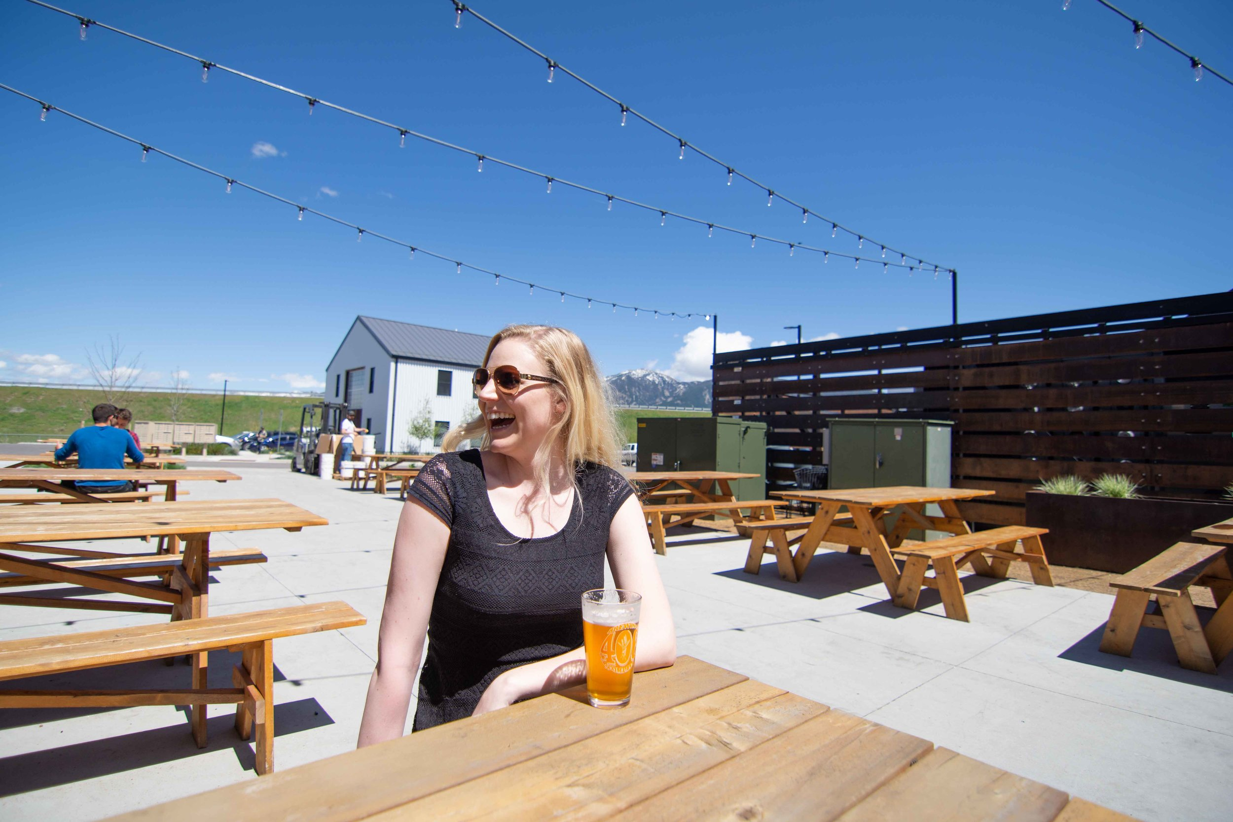 The amazing back patio of 406 Brewing in Bozeman, Montana's cannery district