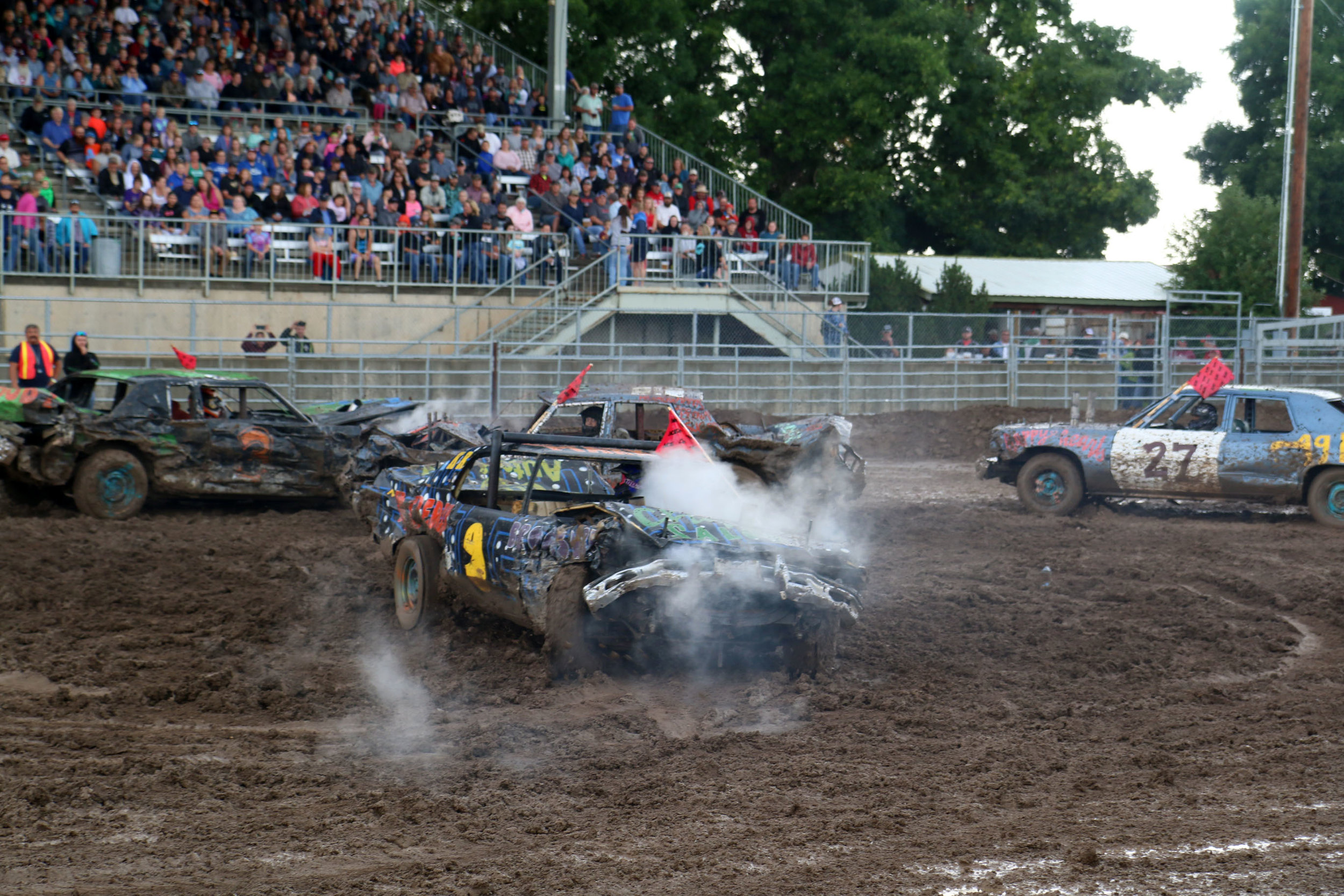 Demolition Derby at the Central Montana Fair in Lewistown, Montana