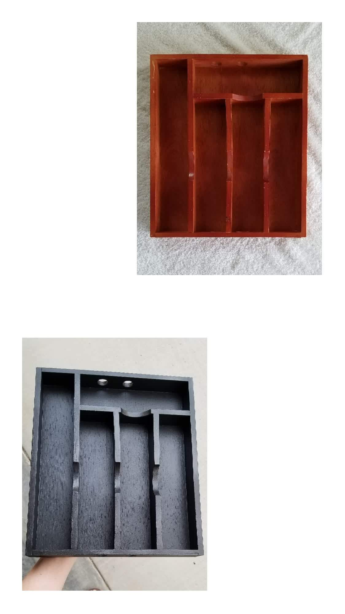 Before and after silverware holder.