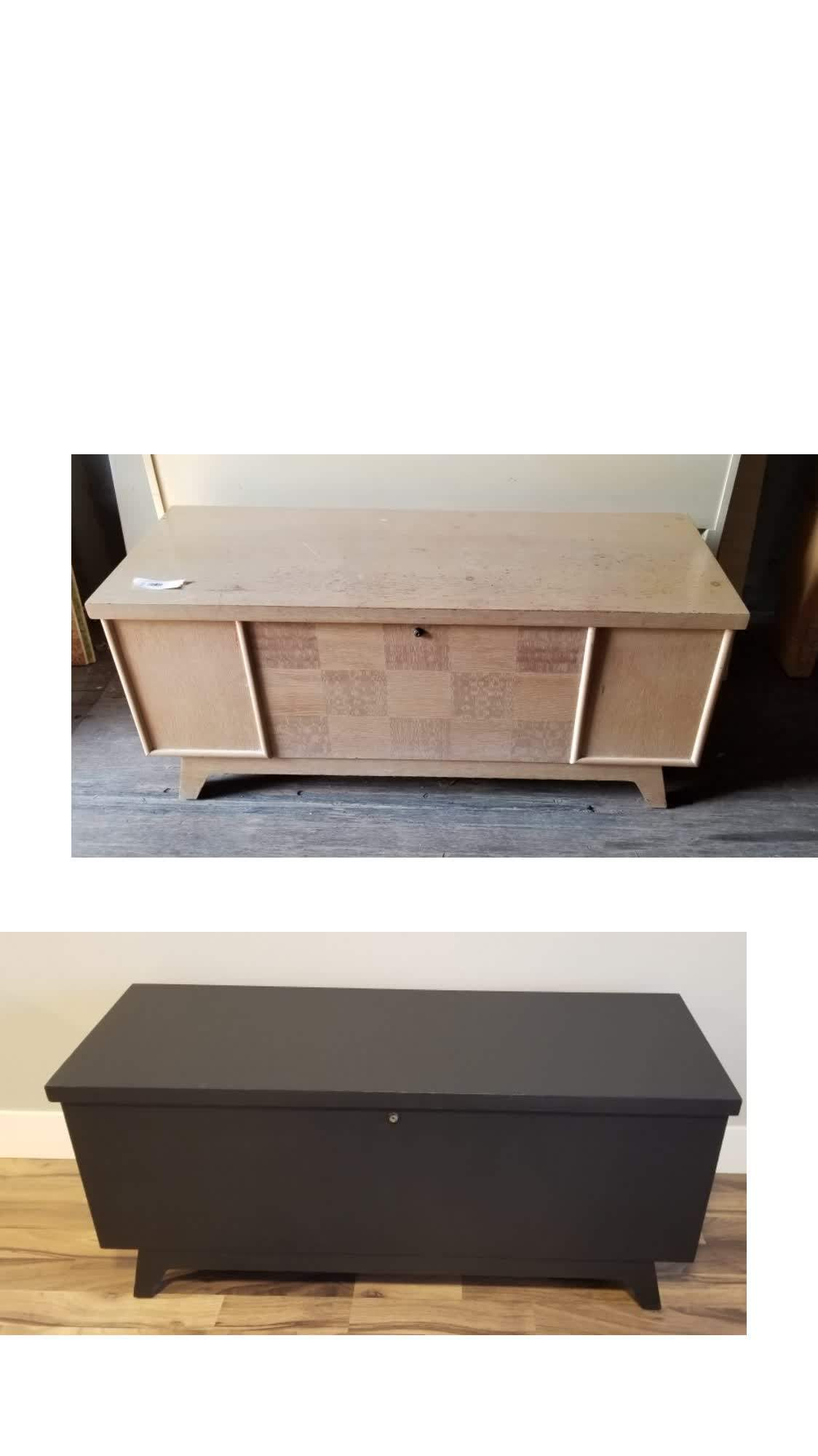 Before and after DIY tv stand
