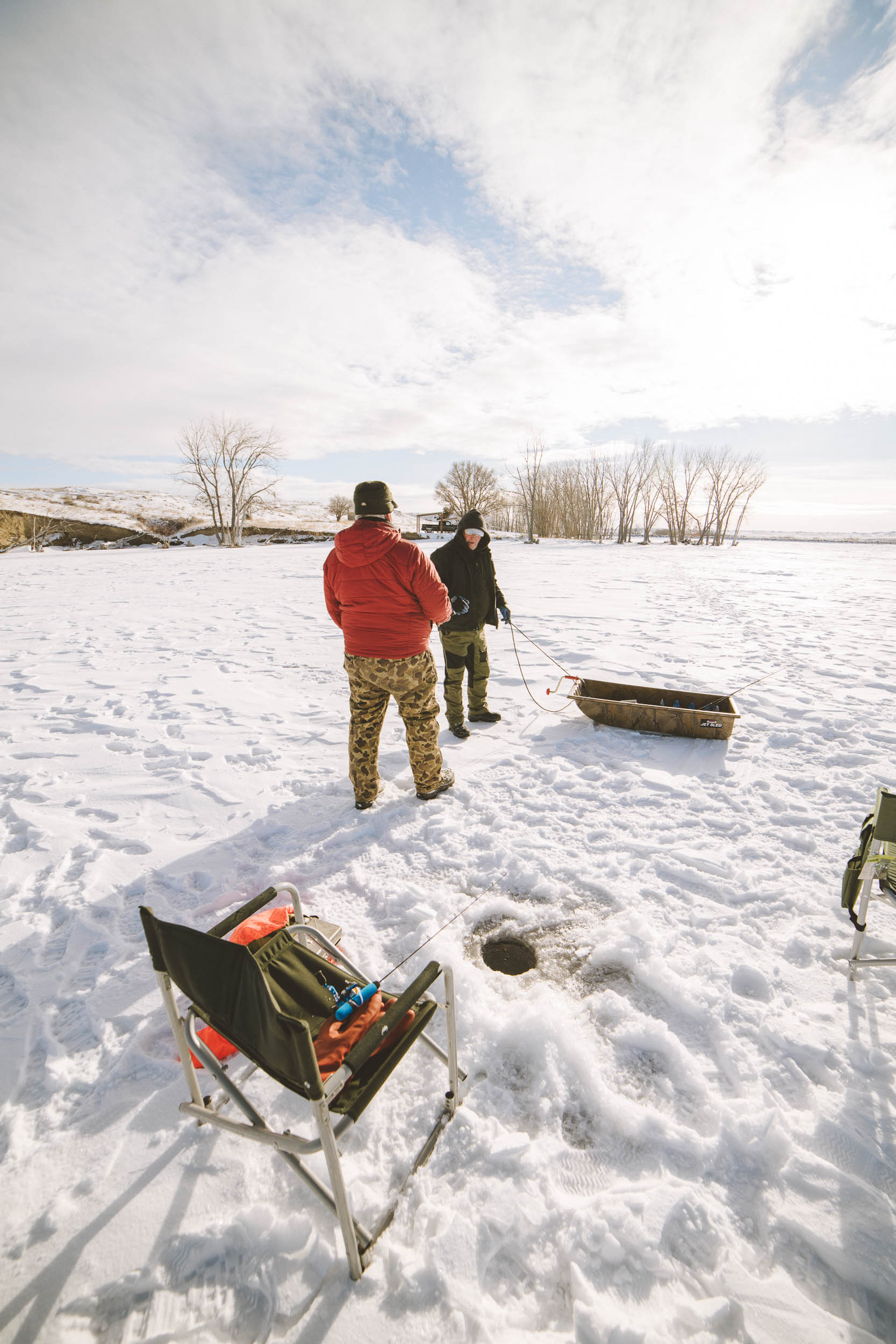 Ice fishing at Petrolia Lake near Winnett, Montana. Beautiful photos takes at Sunrise.