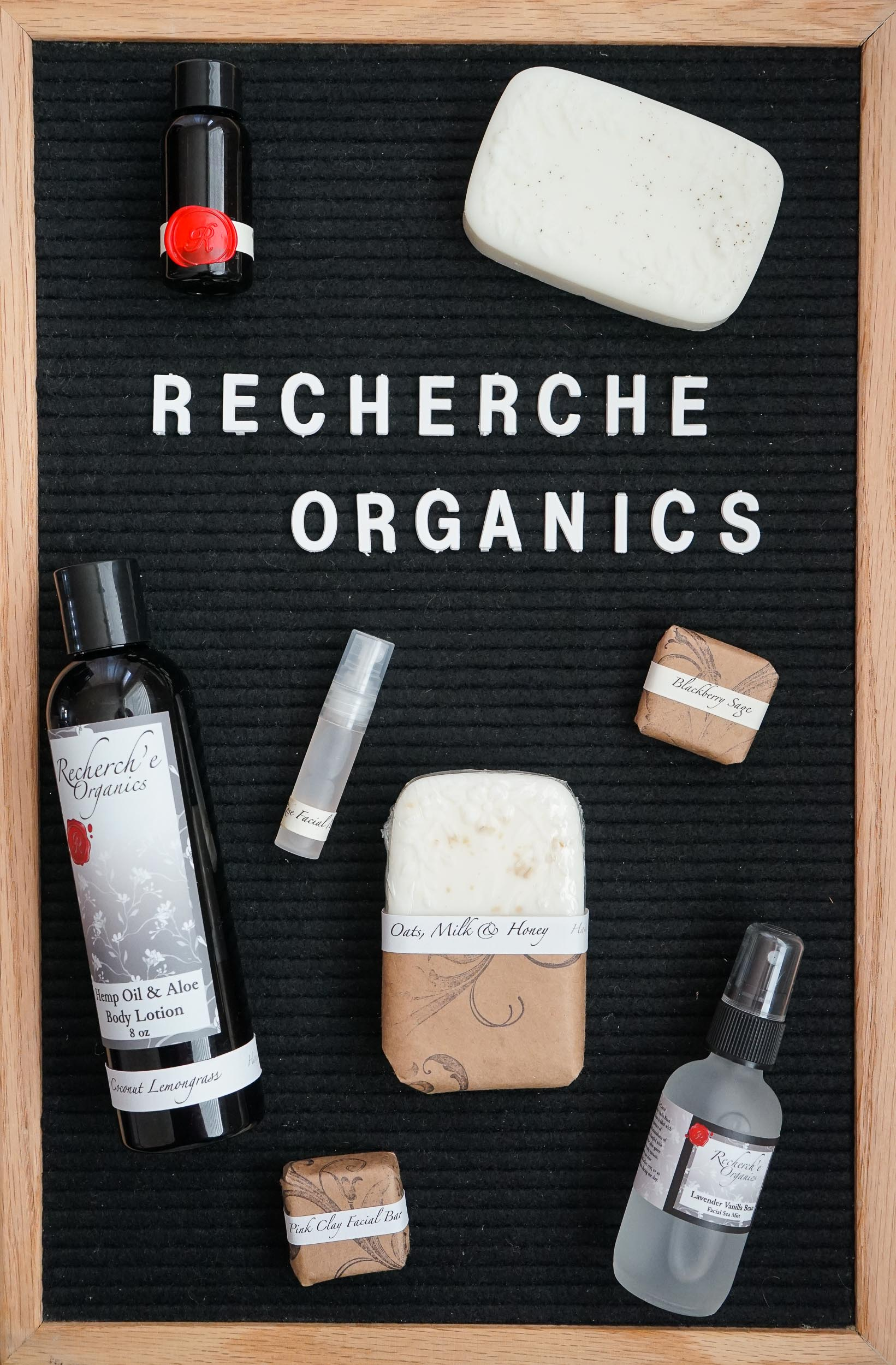 Recherch'e Organics is a small batch bath and body care company that focuses on GMO free, parabin free, petroleum free products that believes in the use of organic, C/A certified organic ingredients, fair trade bulk ingredients and essential oil based scents.