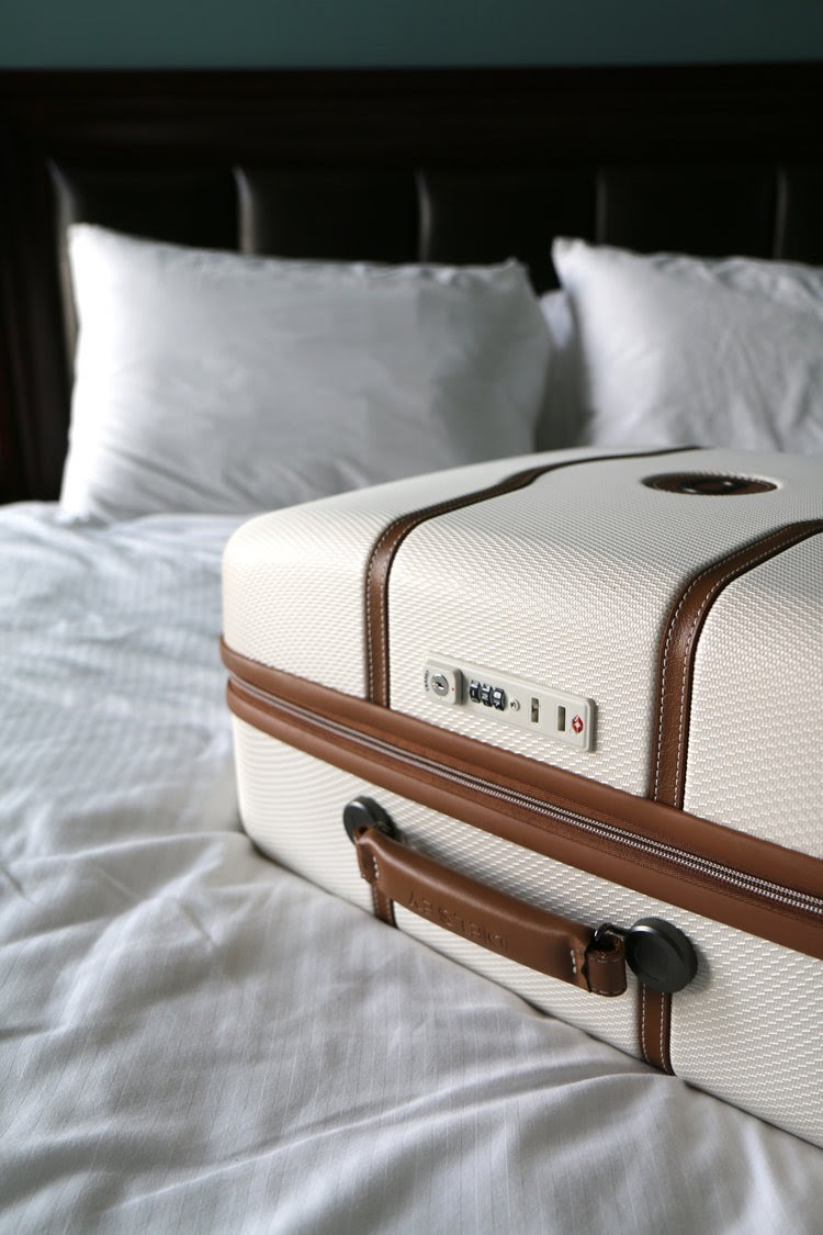20 easy and quick ideas for dealing with flight anxiety - shown Delsey Luggage