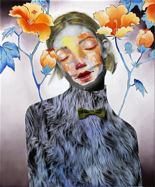 AM DeBrincat Plum Dream mixed media floral painting on canvas