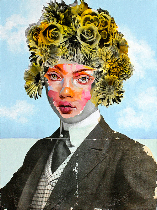 AM DeBrincat In the Sunshine Mixed Media Painting on Canvas with florals