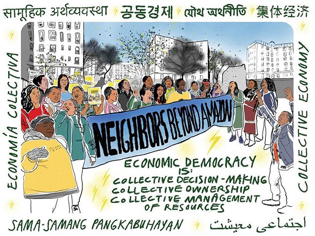 "QUEENS COMMUNITIES, PRESENTE! Join us tomorrow, Saturday 4/13. We'll be in the streets building on our recent win over Amazon and laying the foundation to build a collective economy together. Come through!  Queensbridge, LIC: 10am-12pm Diversity Plaza, Jackson Hts: 2-4pm Corona Plaza, Corona: 5-7pm  #HateFreeZones#LoveAndProtectEachOther#CollectiveEconomy#PeoplePower#NeighborsBeyondAmazon [Image: Hand-drawn design of some of the women and gender non-conforming folx of color who led the fight to keep an Amazon corporate office out of LIC, holding a banner that reads ""Neighbors Beyond Amazon,"" with Queensbridge Houses in the background, a border that reads ""Collective Economy"" in English, Nepali, Urdu, Bangla, Tagalog, Korean, Chinese, and Spanish, and text that reads ""Collective Democracy is Collective Decision-Making, Collective Ownership, Collective Management of Resources""]"