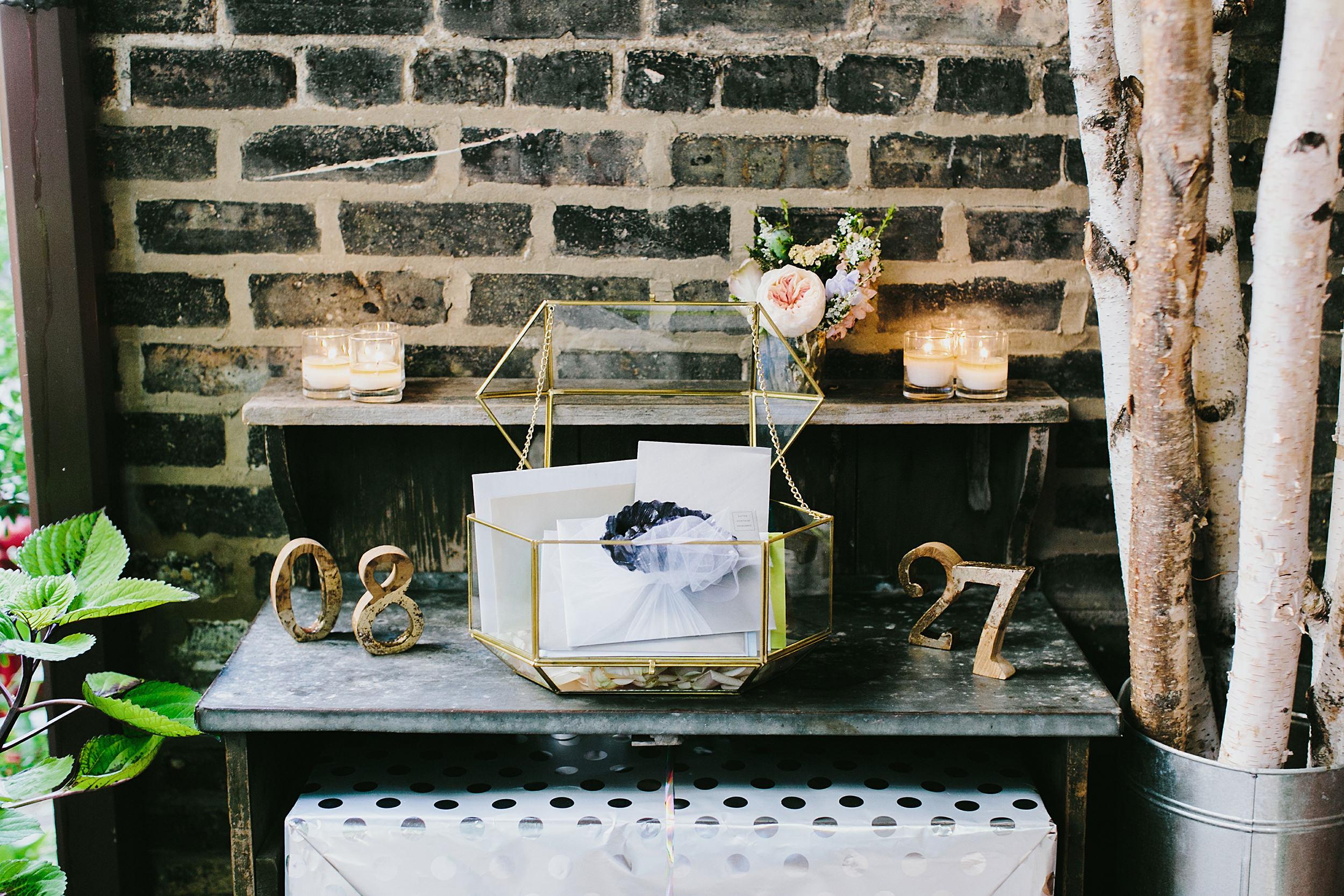 gold and glass geometric box