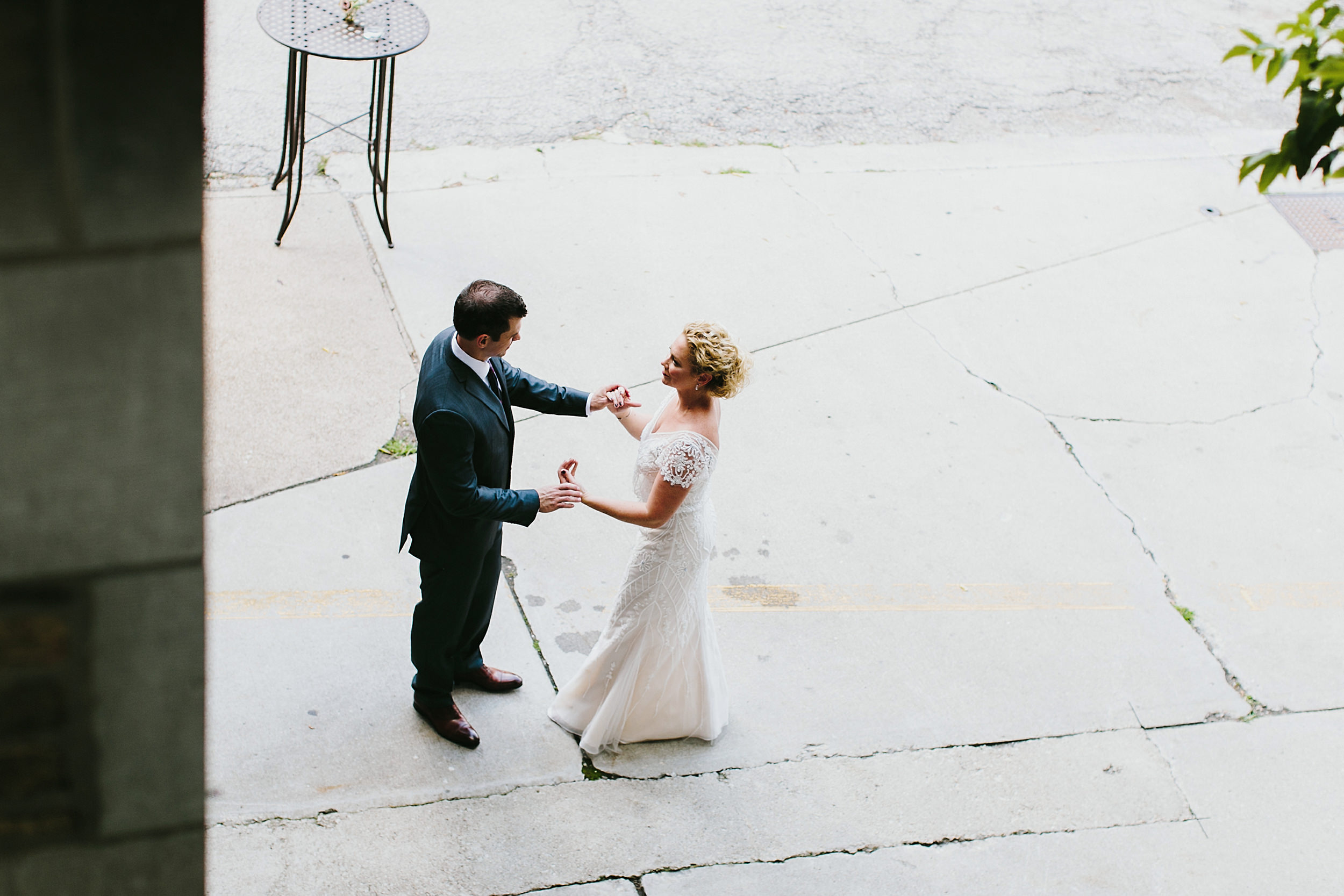 an intimate moment between the bride and the groom