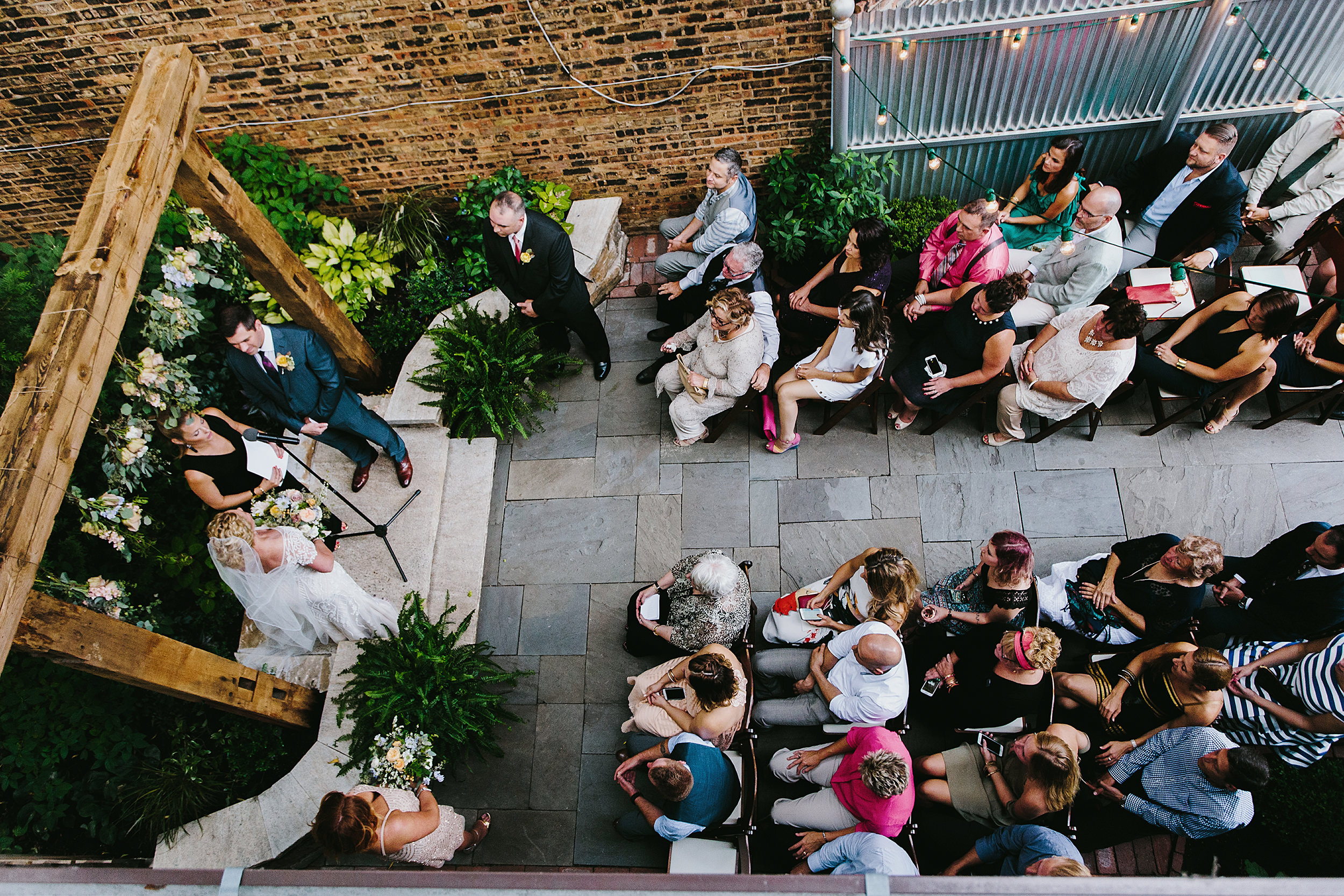 Wedding ceremony from above at Firehouse Chicago