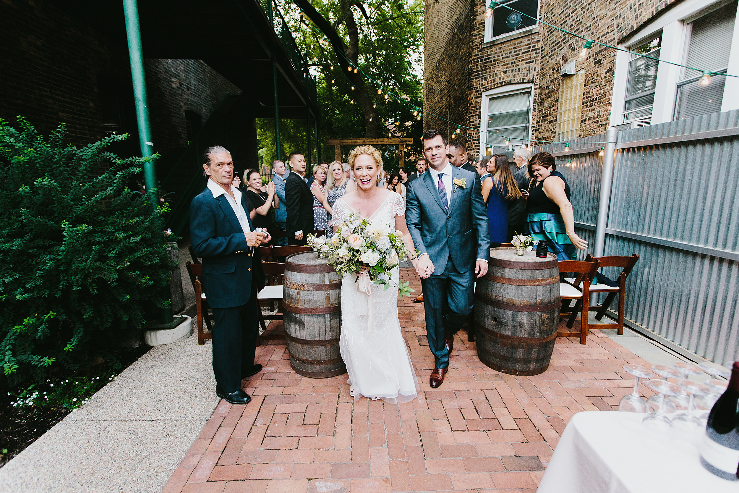 Ceremony recessional at Firehouse Chicago