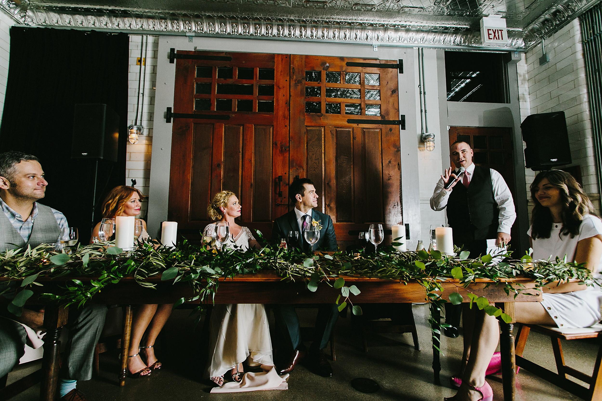 Wedding toast inside Firehouse Chicago
