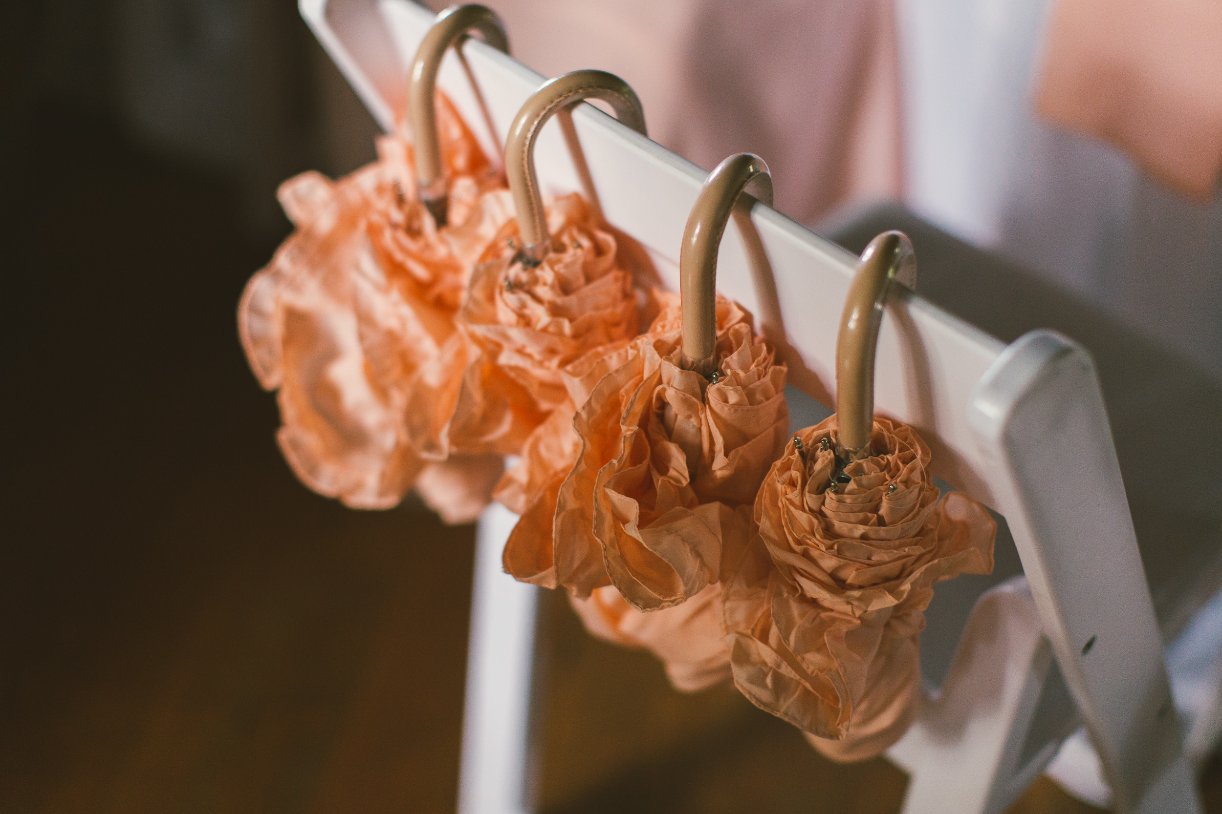 rainy day bridesmaid umbrellas