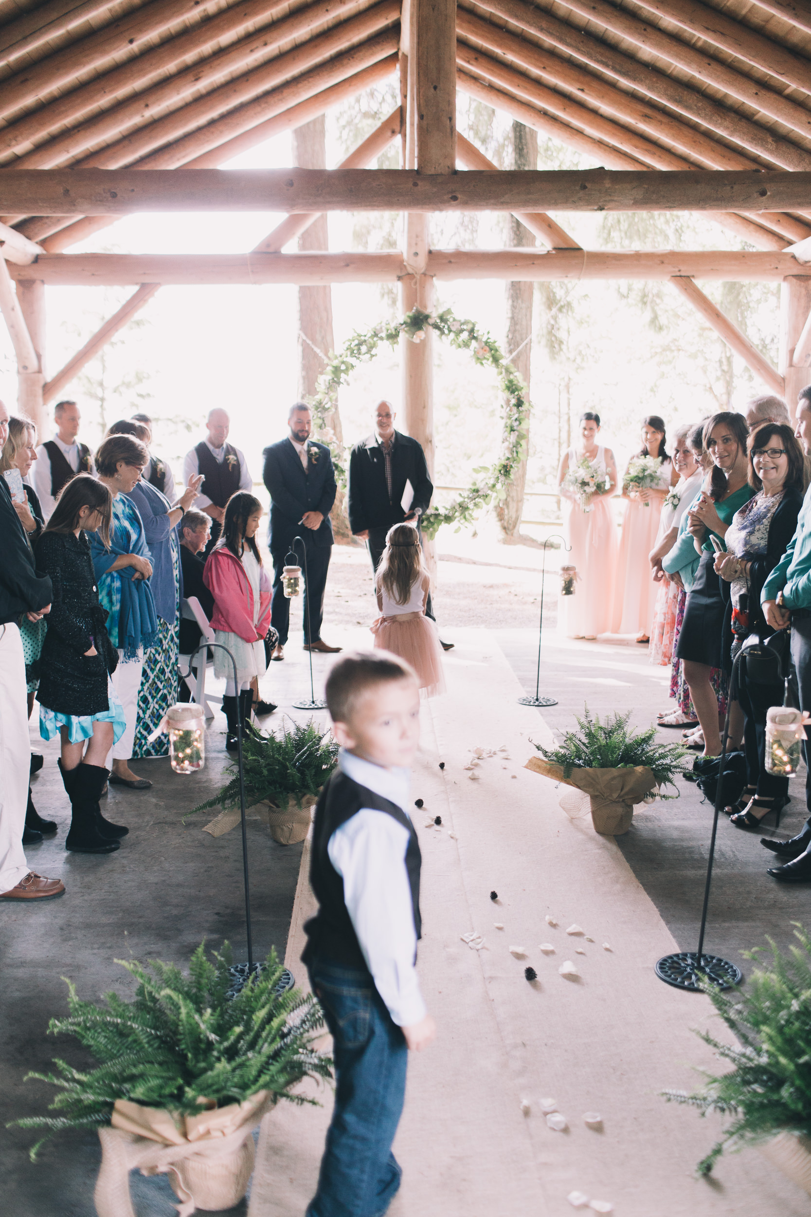 kitsap memorial state park log hall wedding ceremony