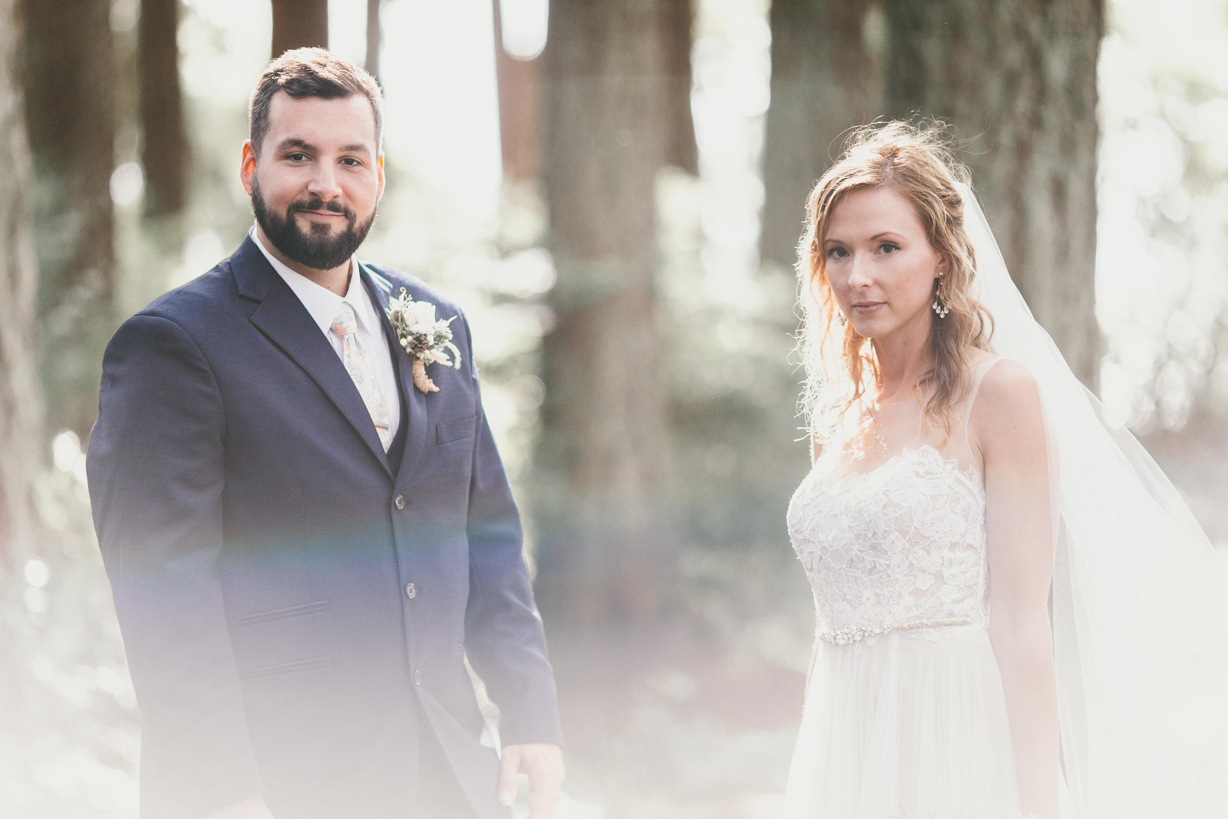 rainbow bride and groom in trees