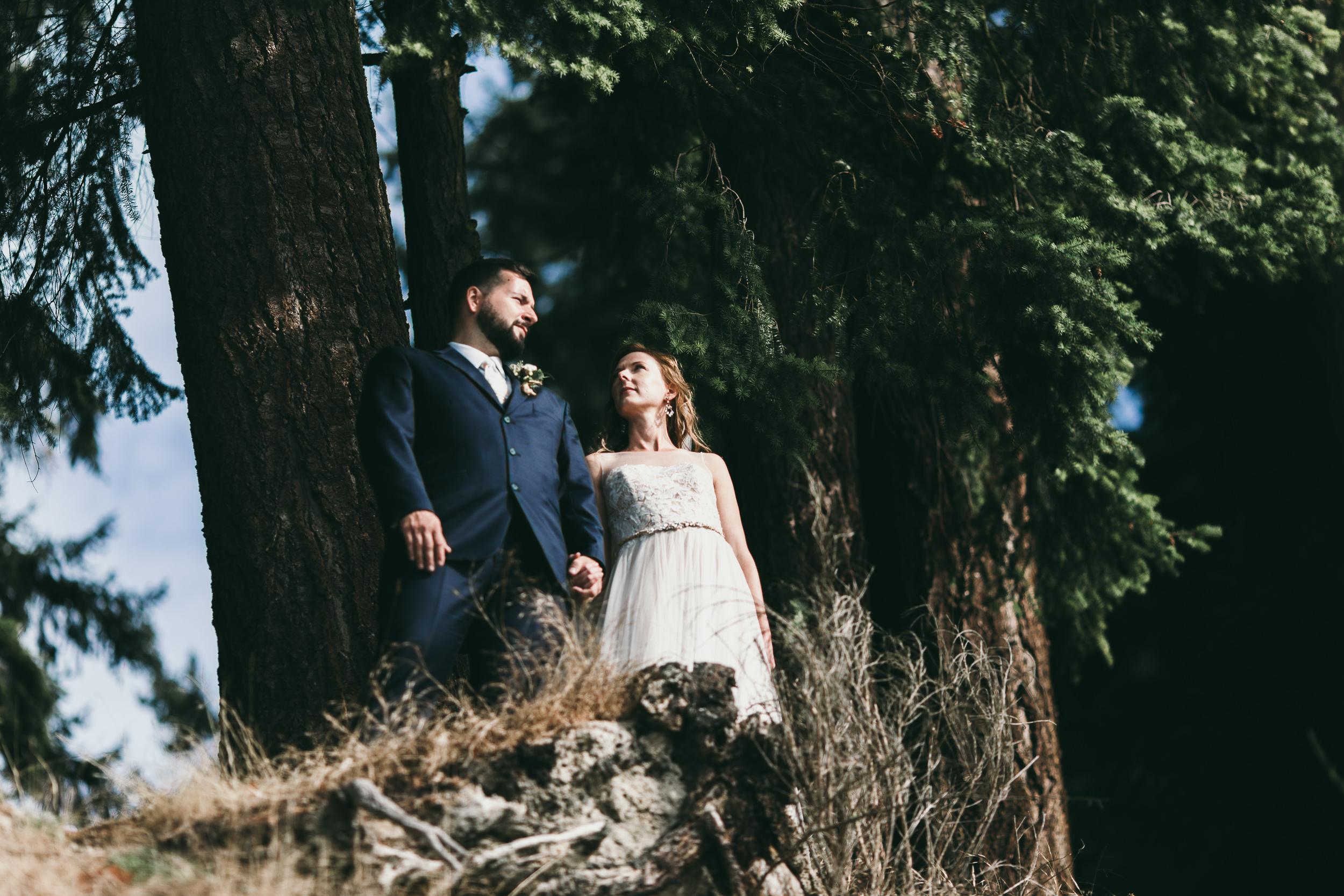 bride and groom look majestic on precipice