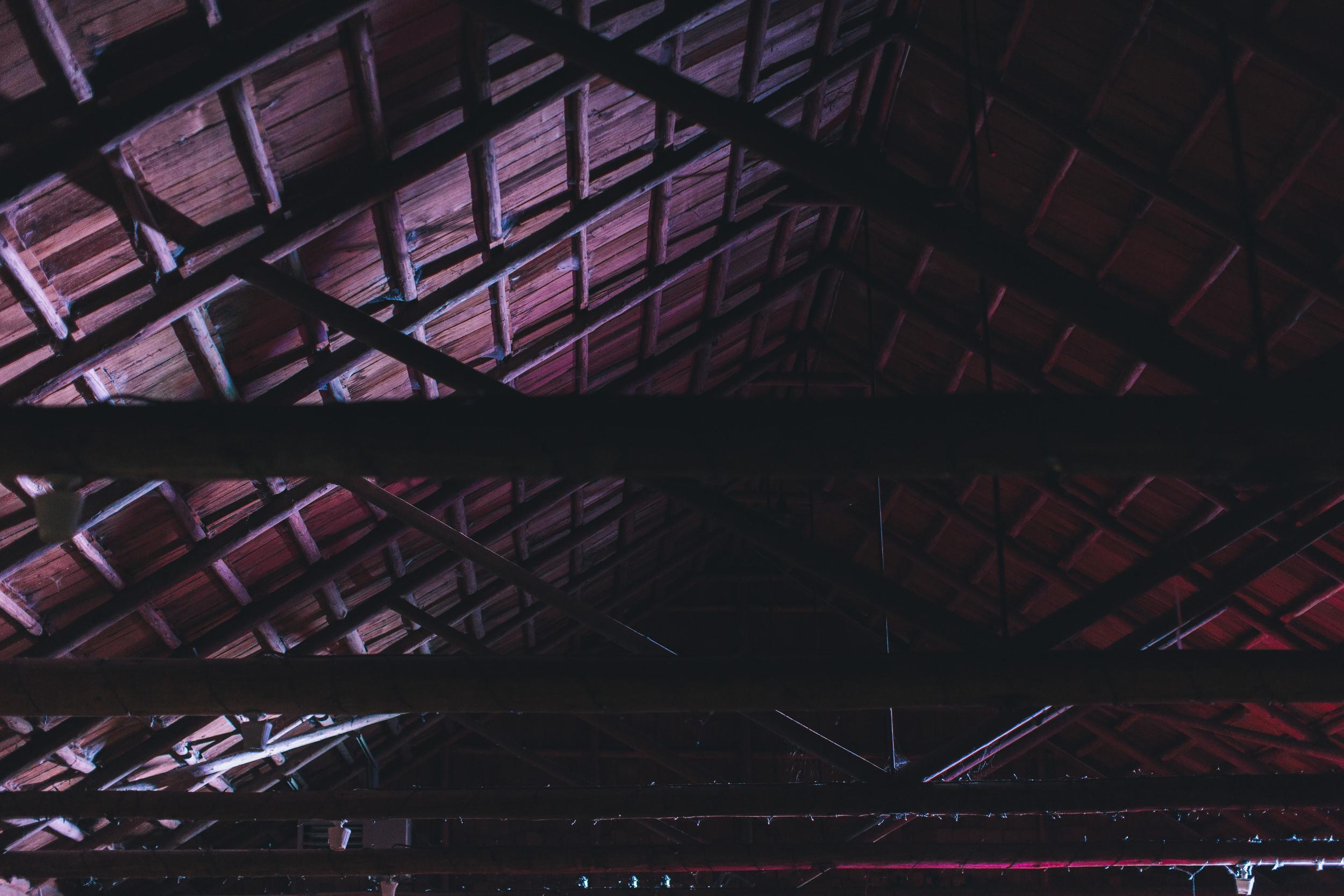 inside rafters of log hall kitsap memorial state park