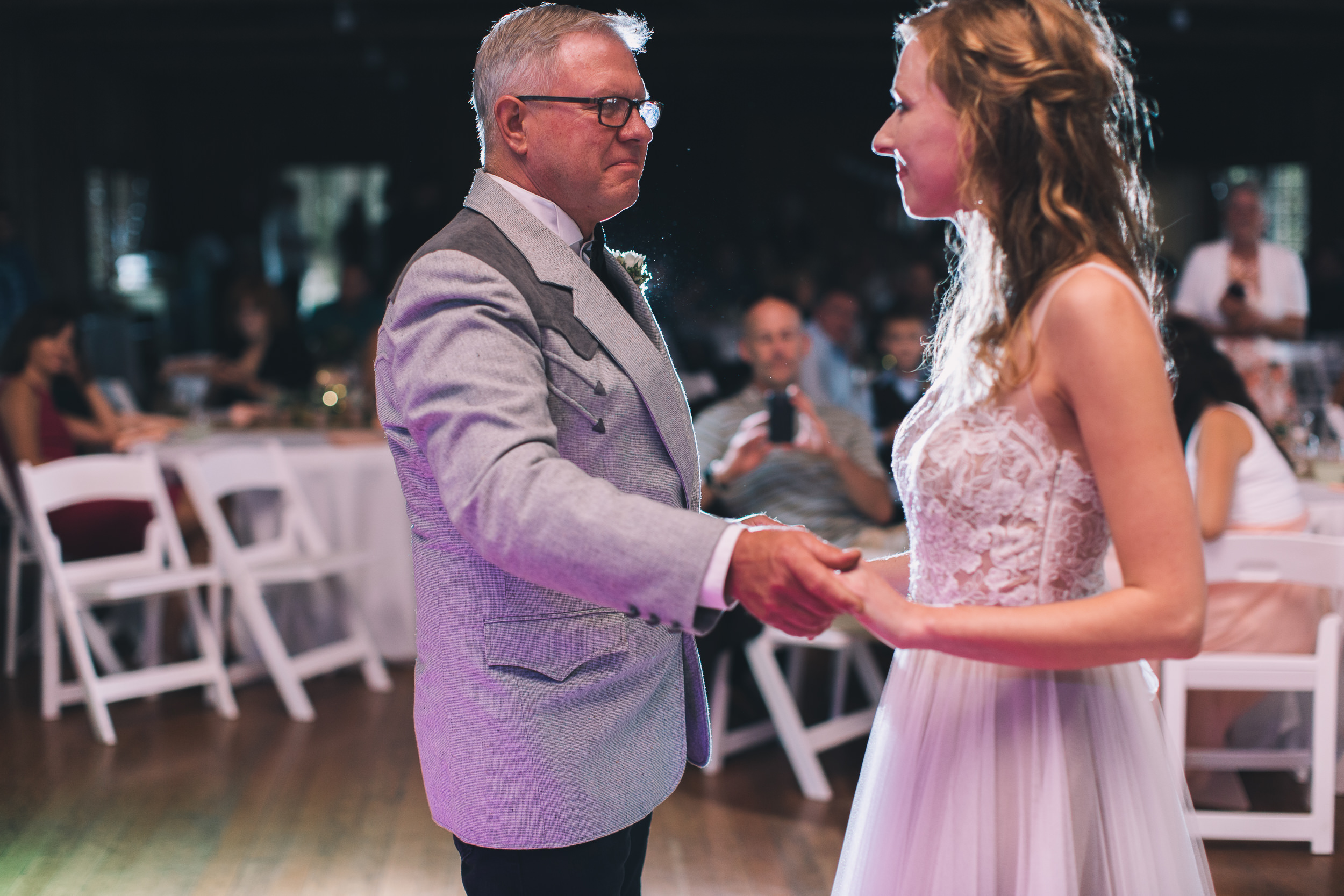 bride and father dance at kitsap memorial state park log hall
