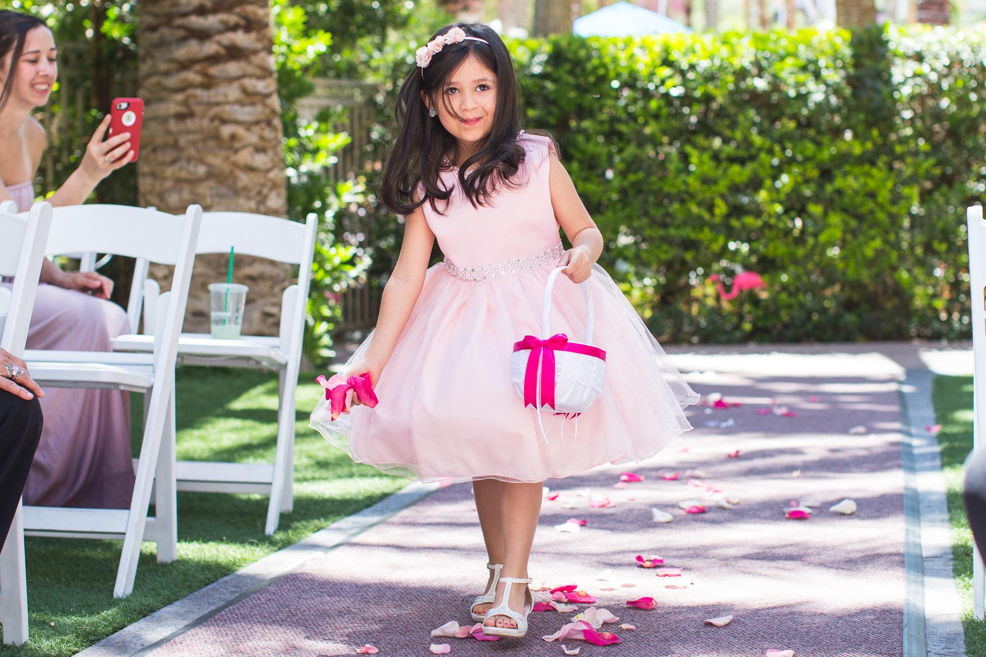 pink flower girl in las vegas