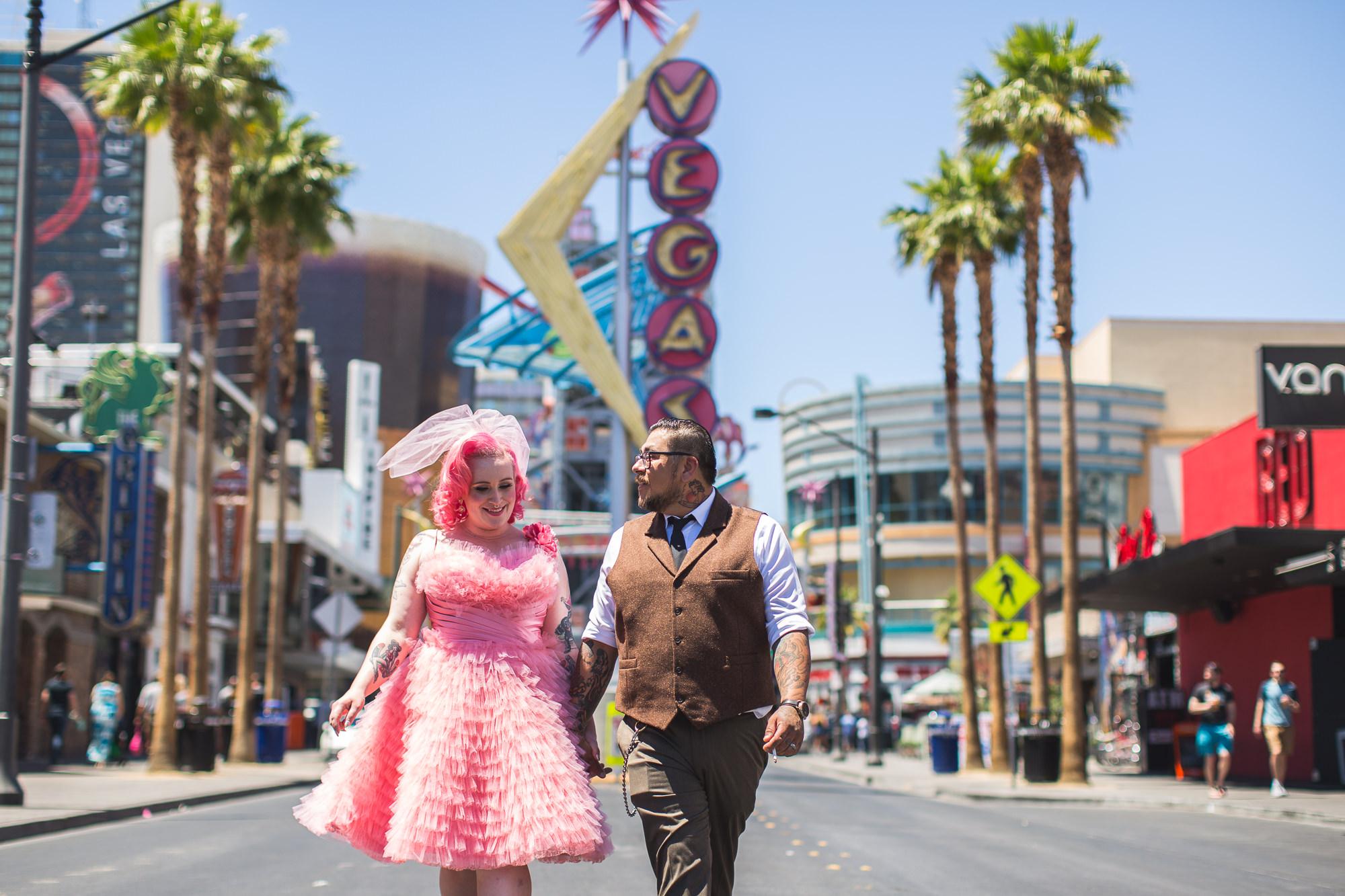 Las Vegas fremont district pink bride and groom portrait