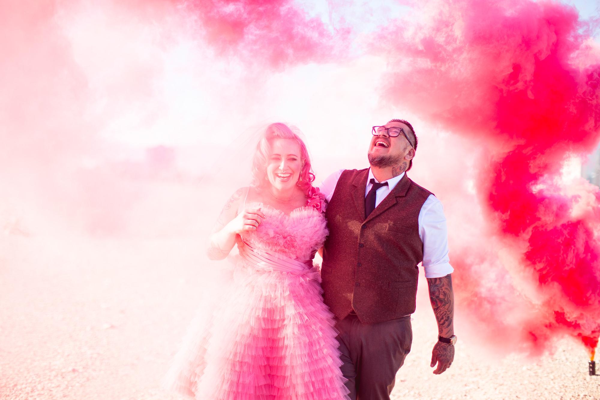 pink smoke and pink bride