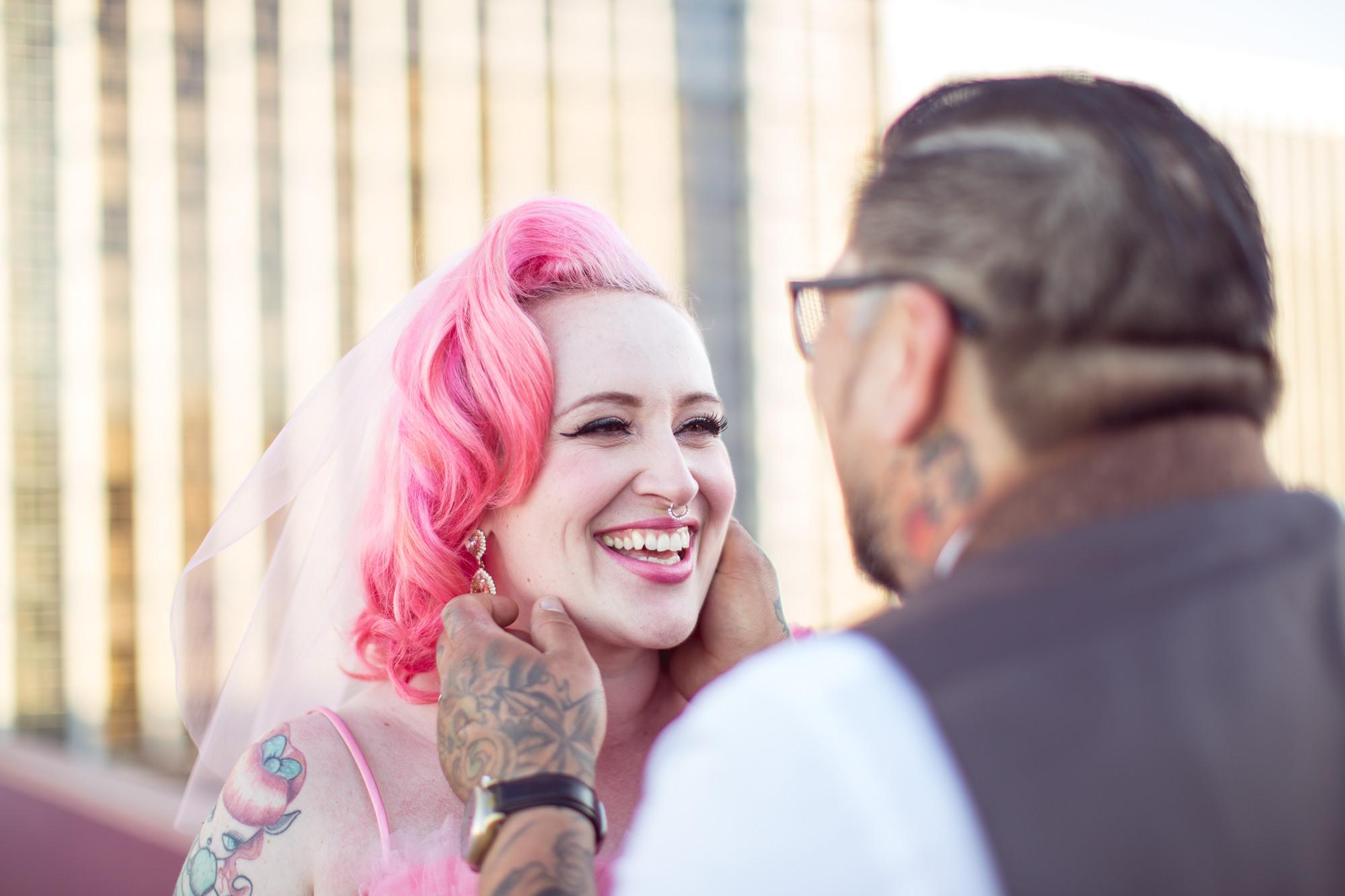 offbeat tattooed bride and groom