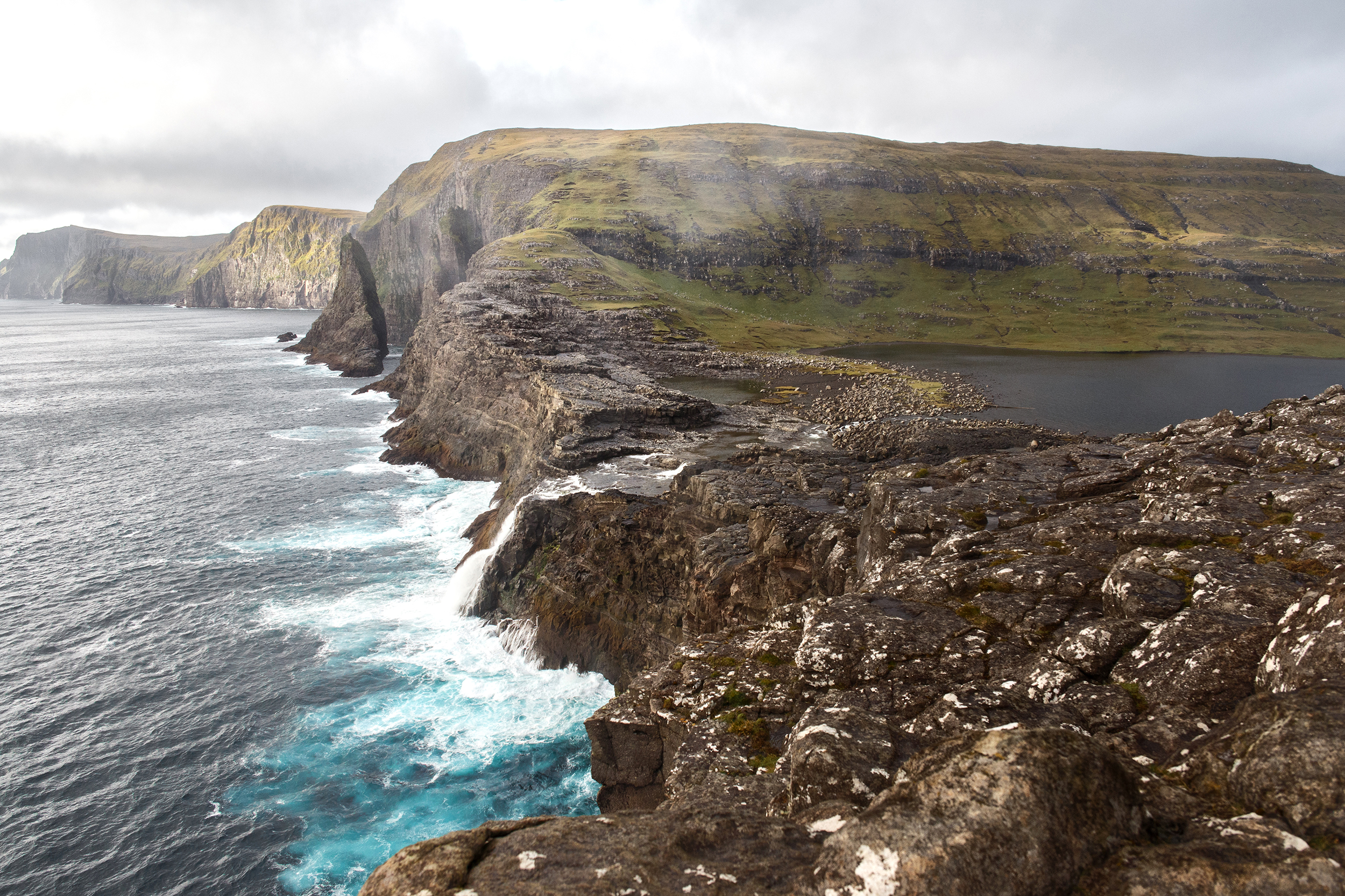 The edge of Sørvágsvatn or Leitisvatn on Vagur in the Faroe Islands