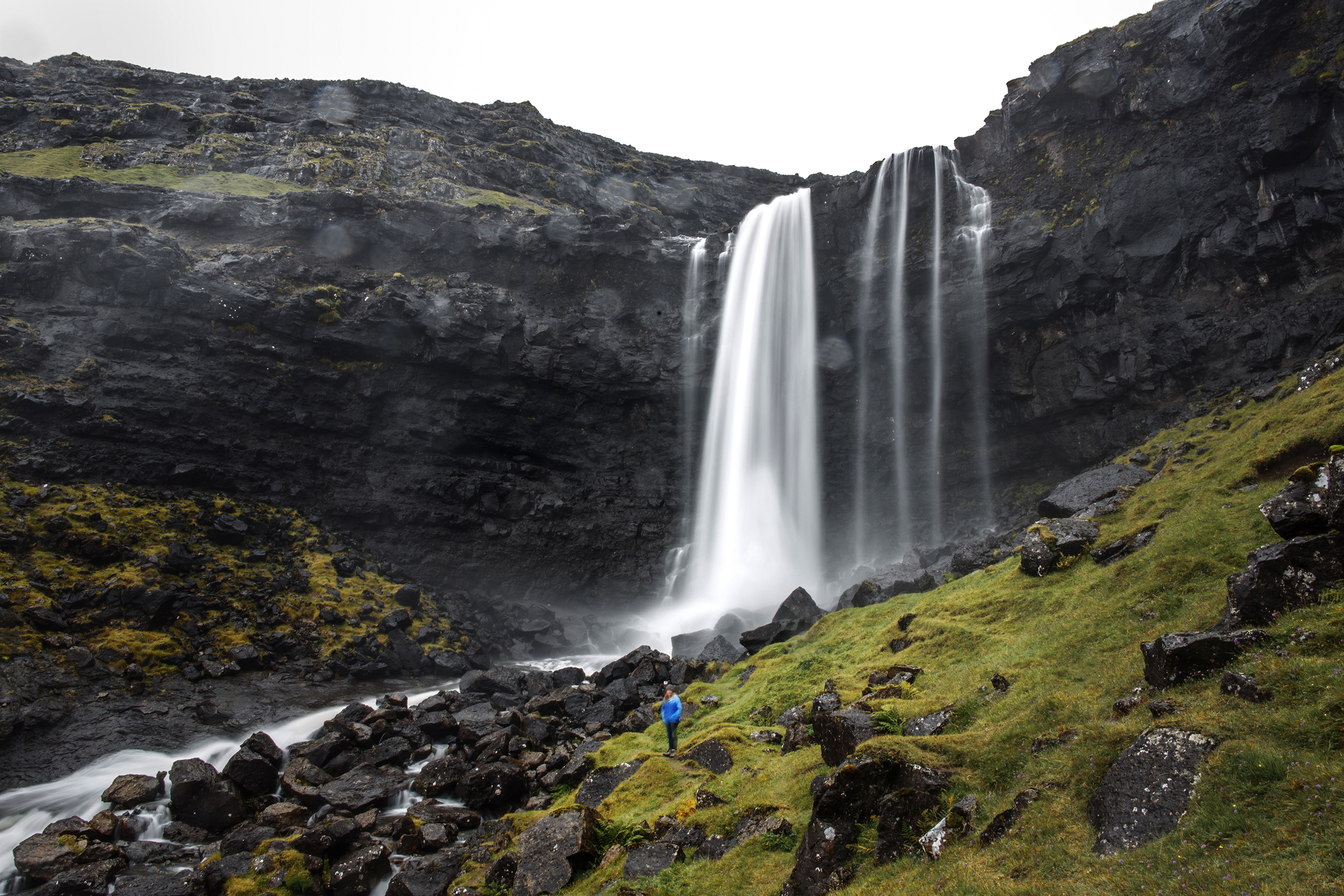 Fossá waterfall in the Faroe Islands on Streymoy island.