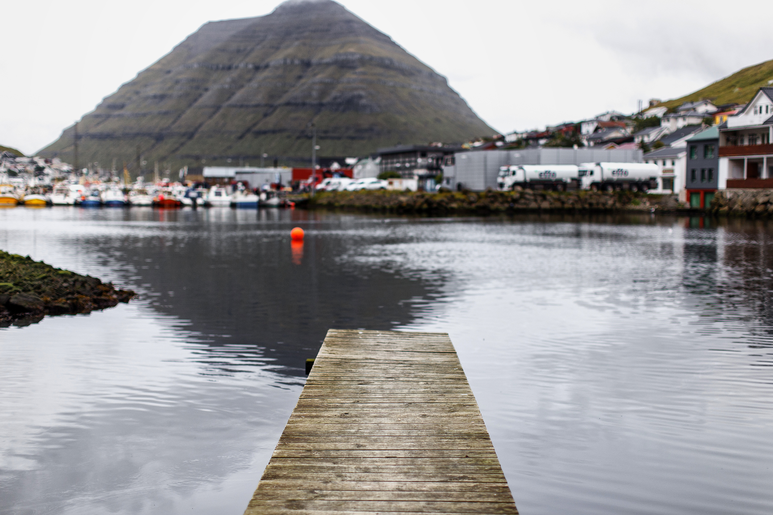 Klaksvik on Bordoy in the Faroe Islands looking at Kunoy