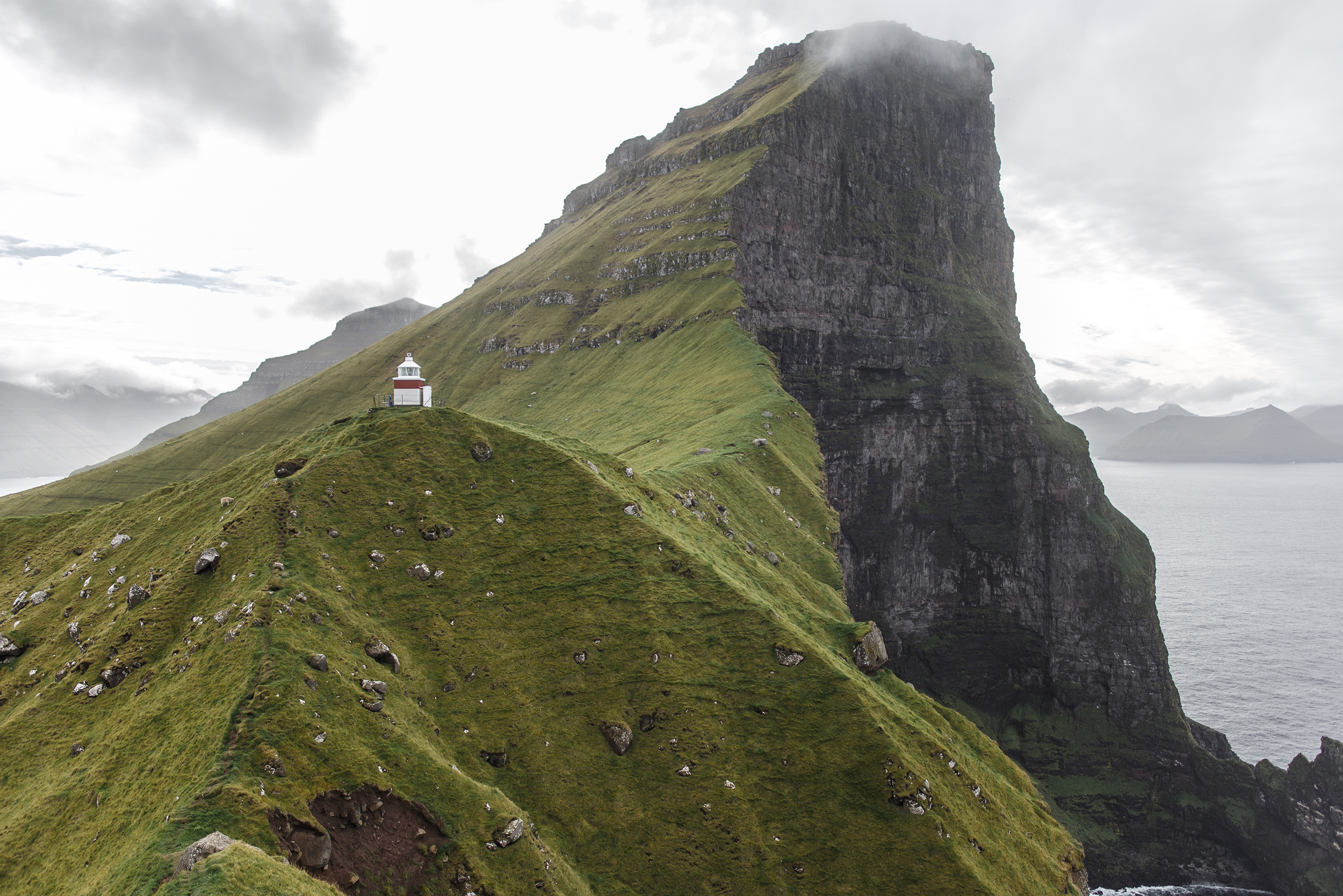 Kallur Lighthouse on Kalsoy island in the Faroe Islands