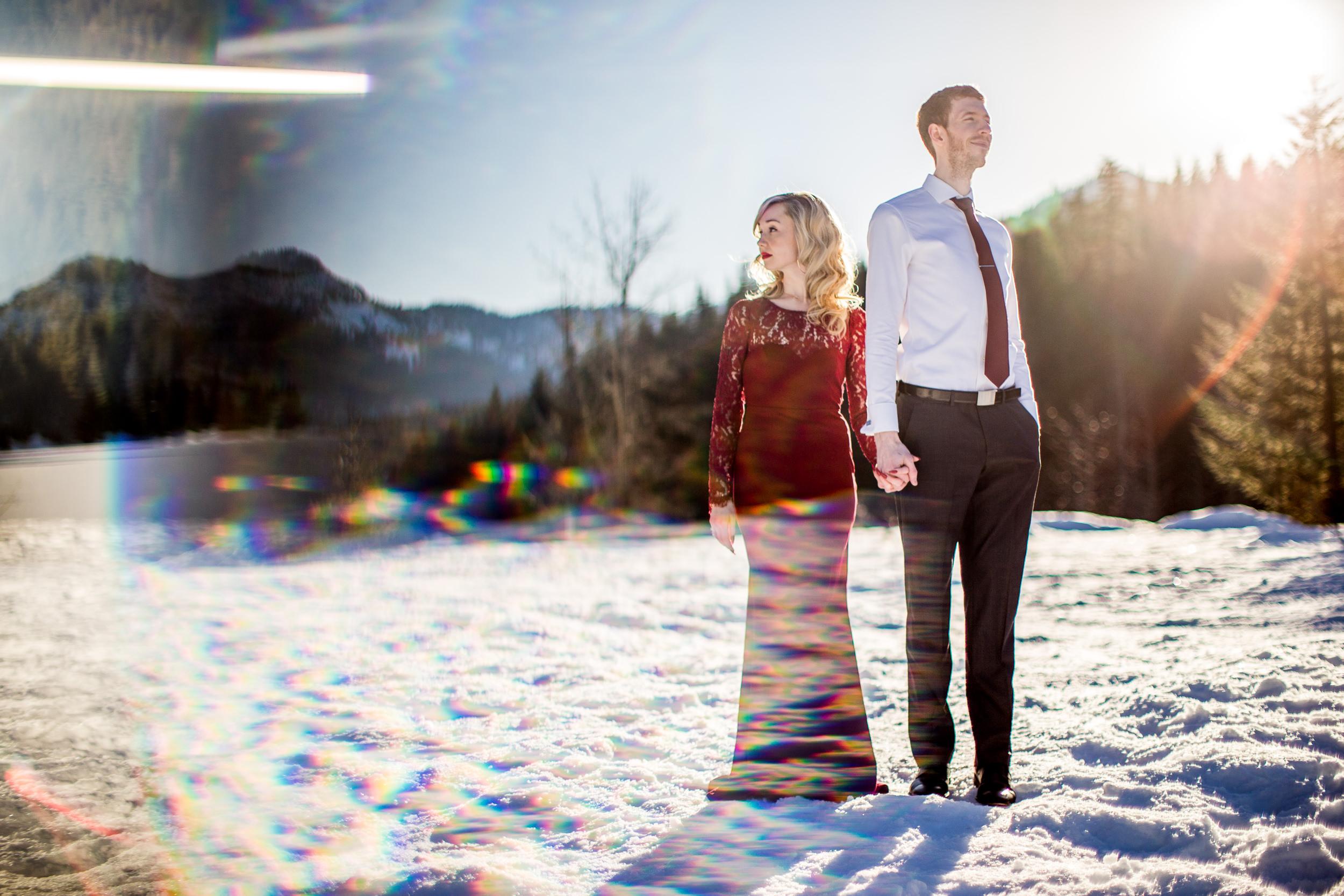 winter elopement photos