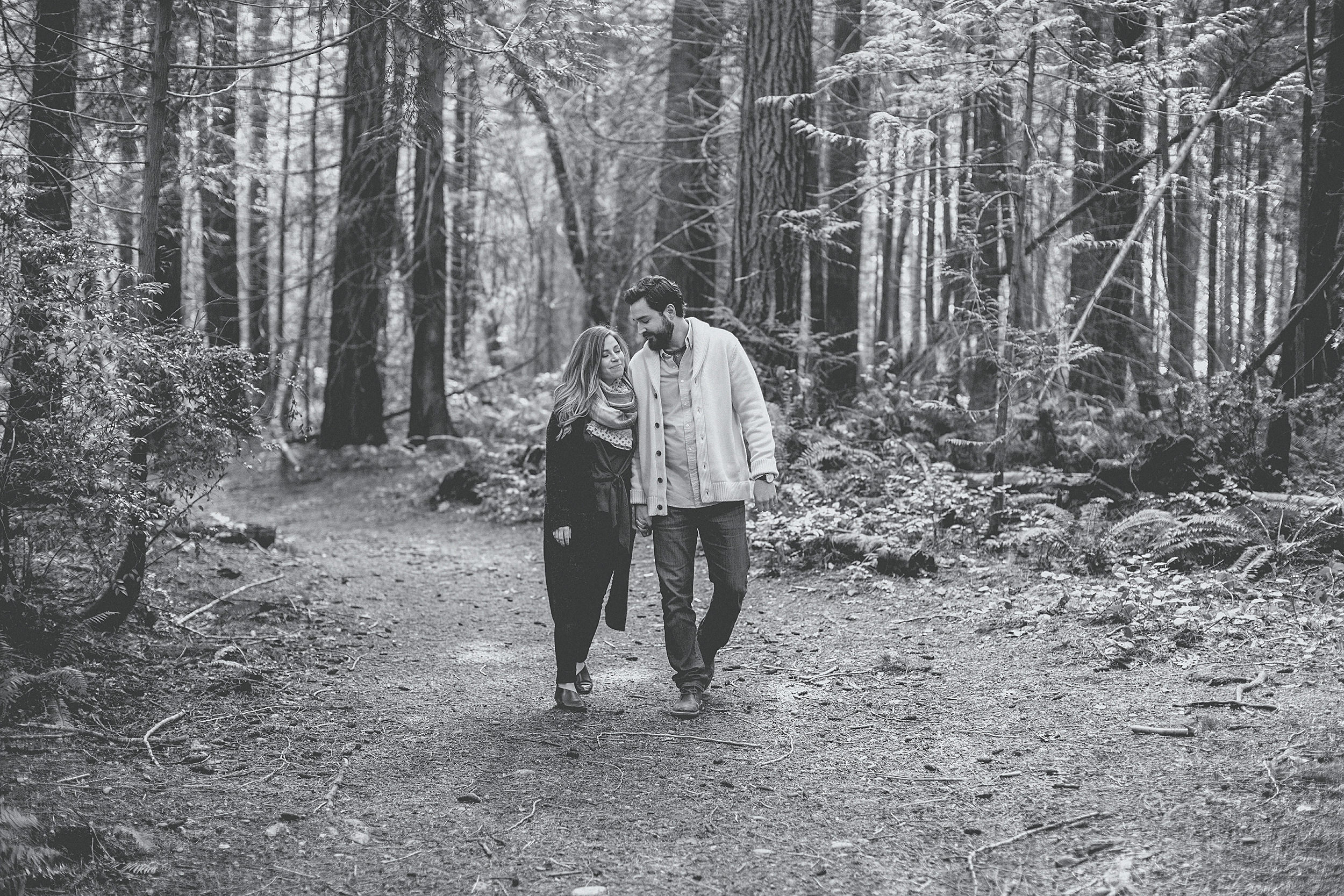black and white engagement photographer
