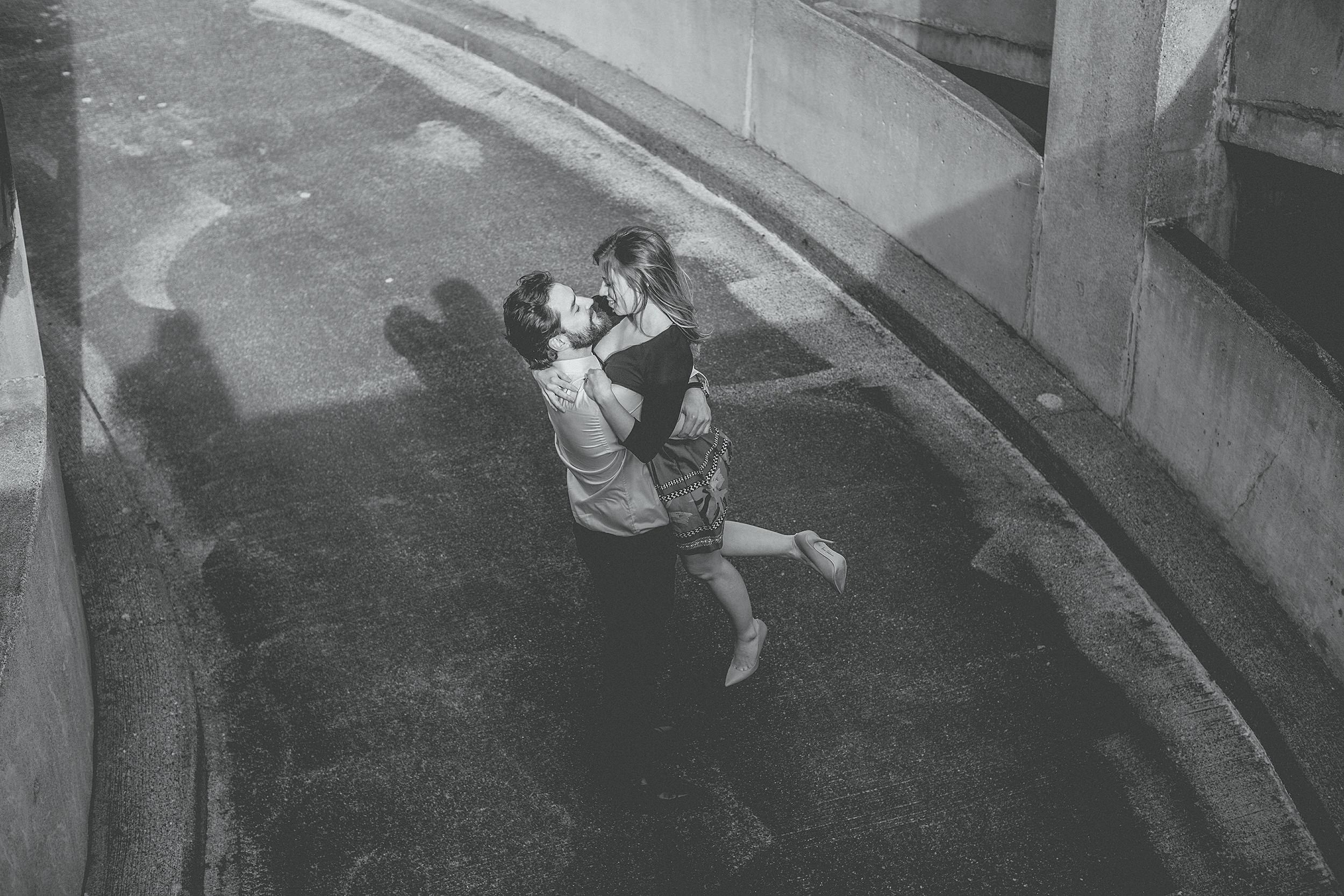 black and white urban engagement photographer