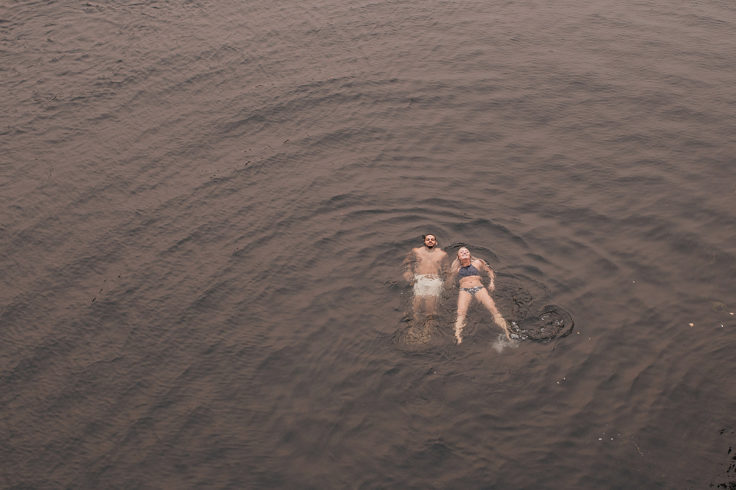 swimming seattle engagement photo shoot