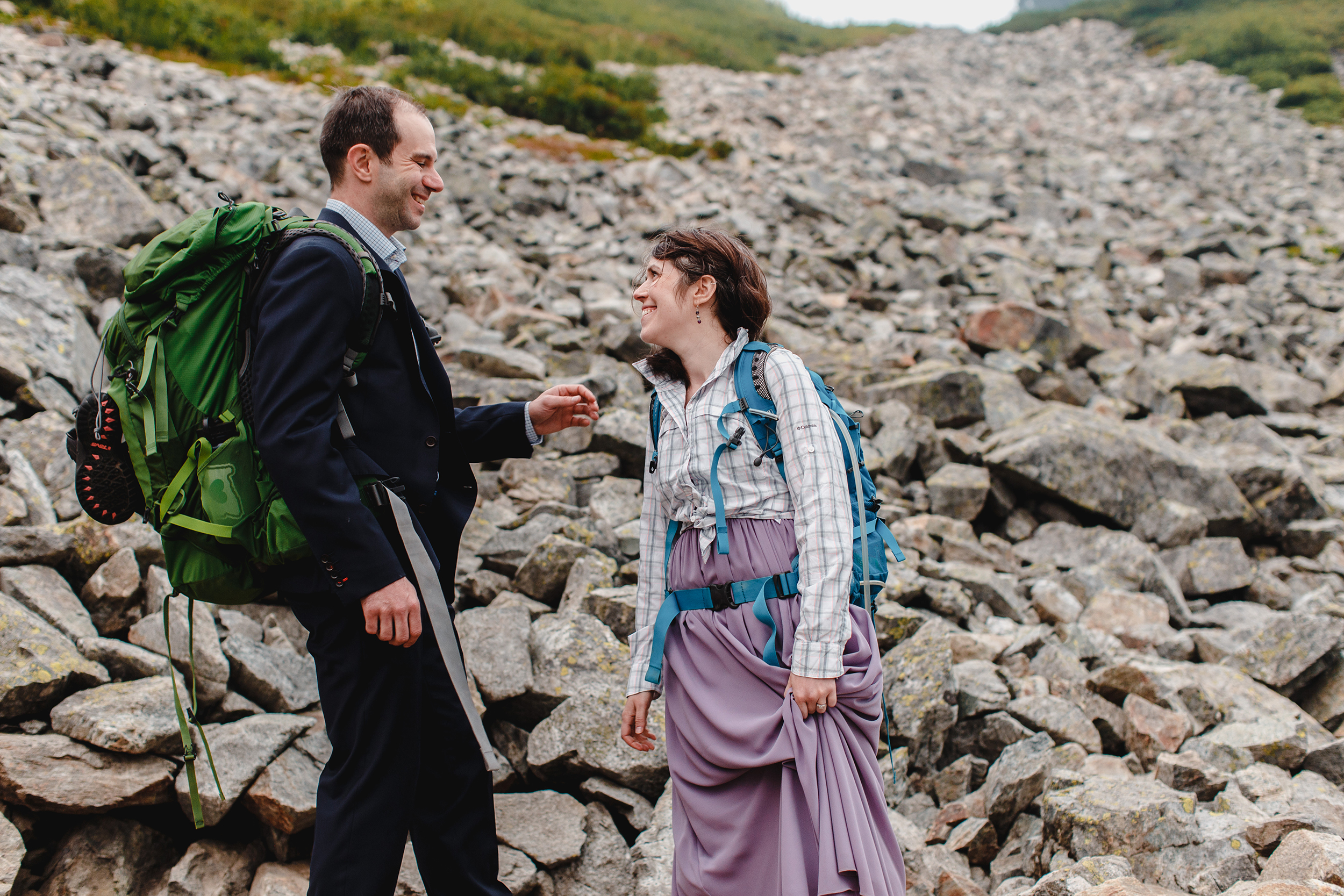 Hiking in a suit and dress