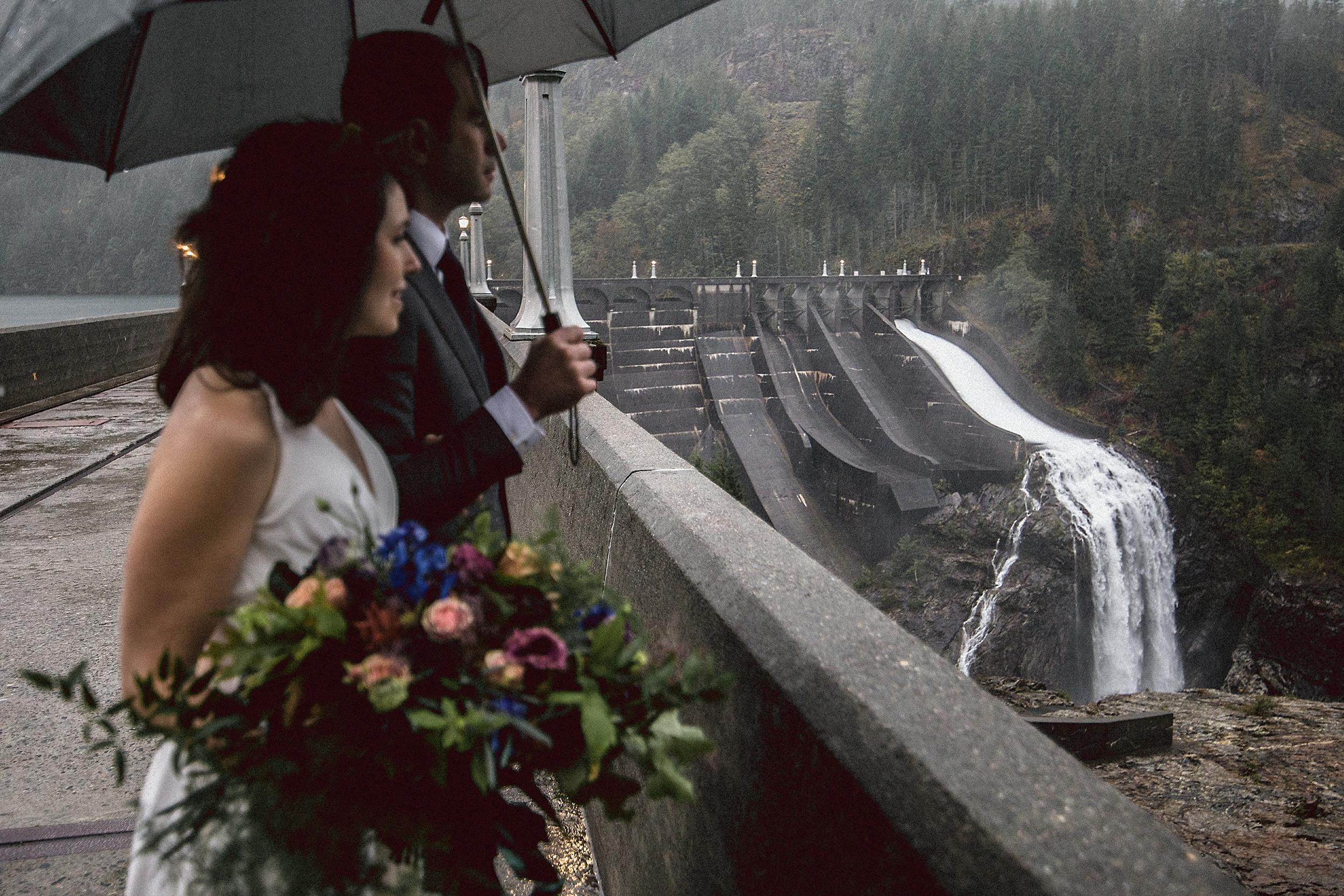 Wedding portrait on Diablo Lake Dam in the North Cascades National Park
