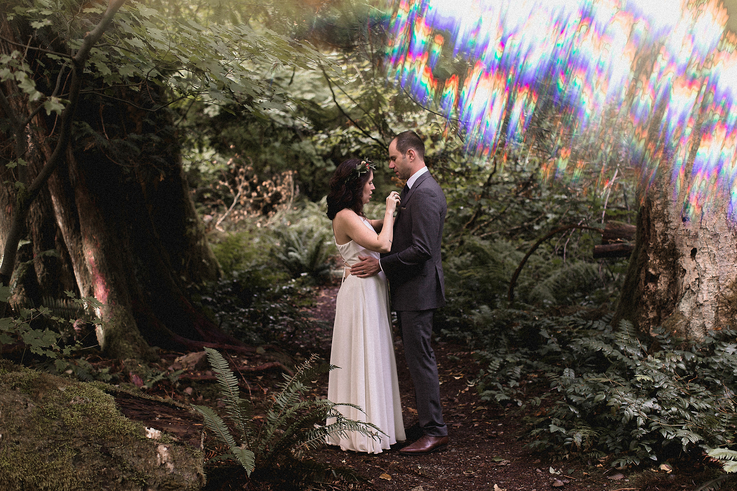 rainbow forest bride and groom photo shoot, pack your own rainbow
