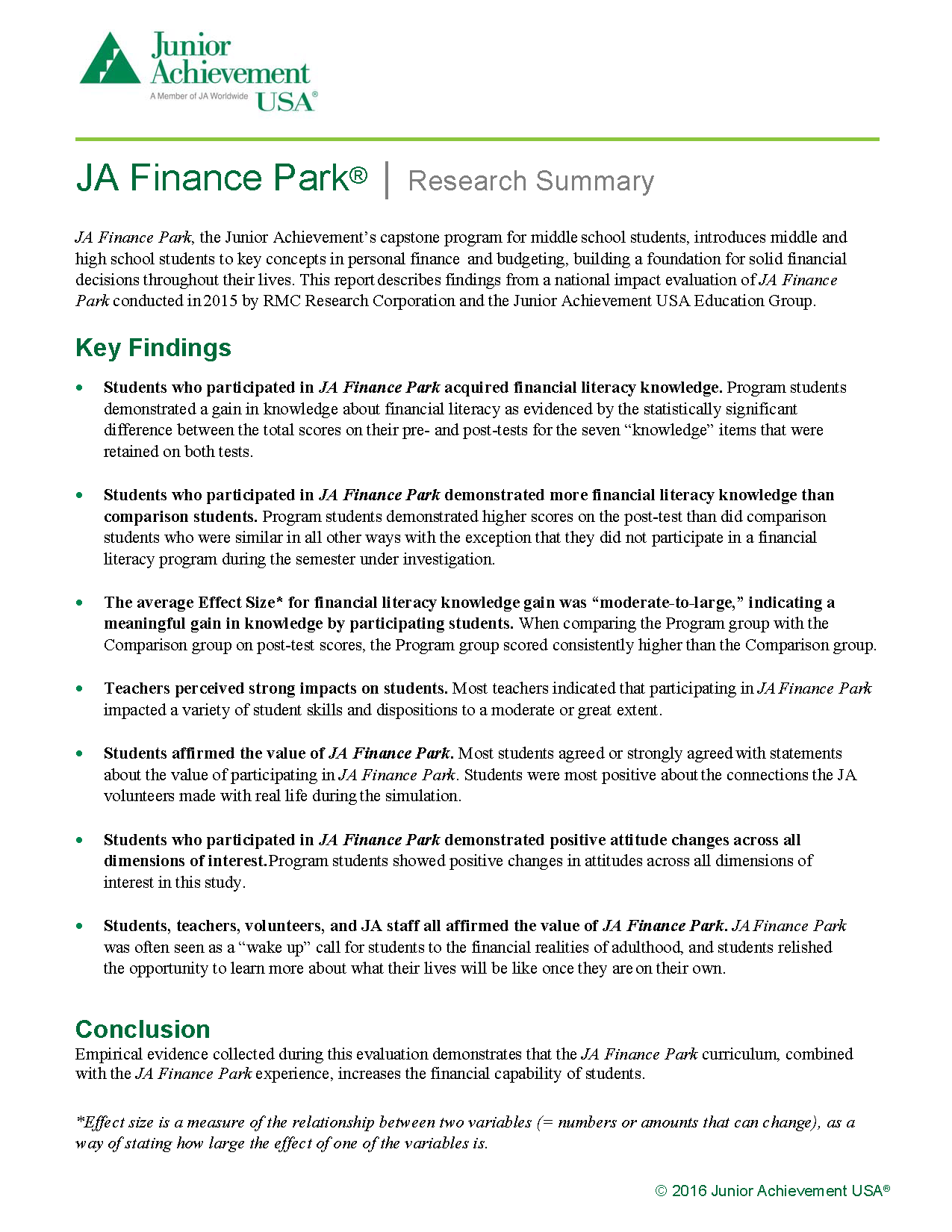 2016 JA Finance Park Evaluation Exec. Summary