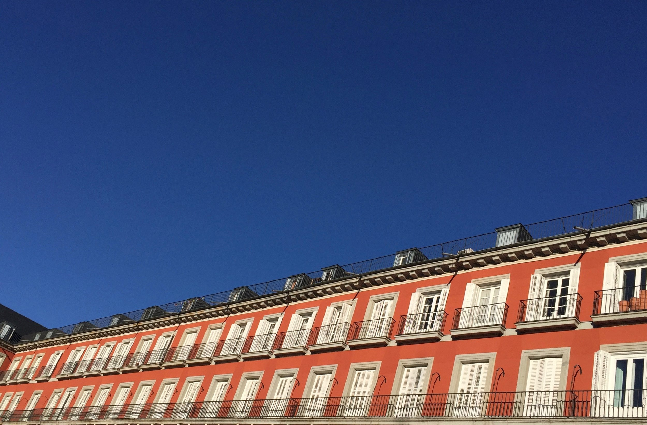 Plaza Mayor, Madrid. The sky in London never looks like this.