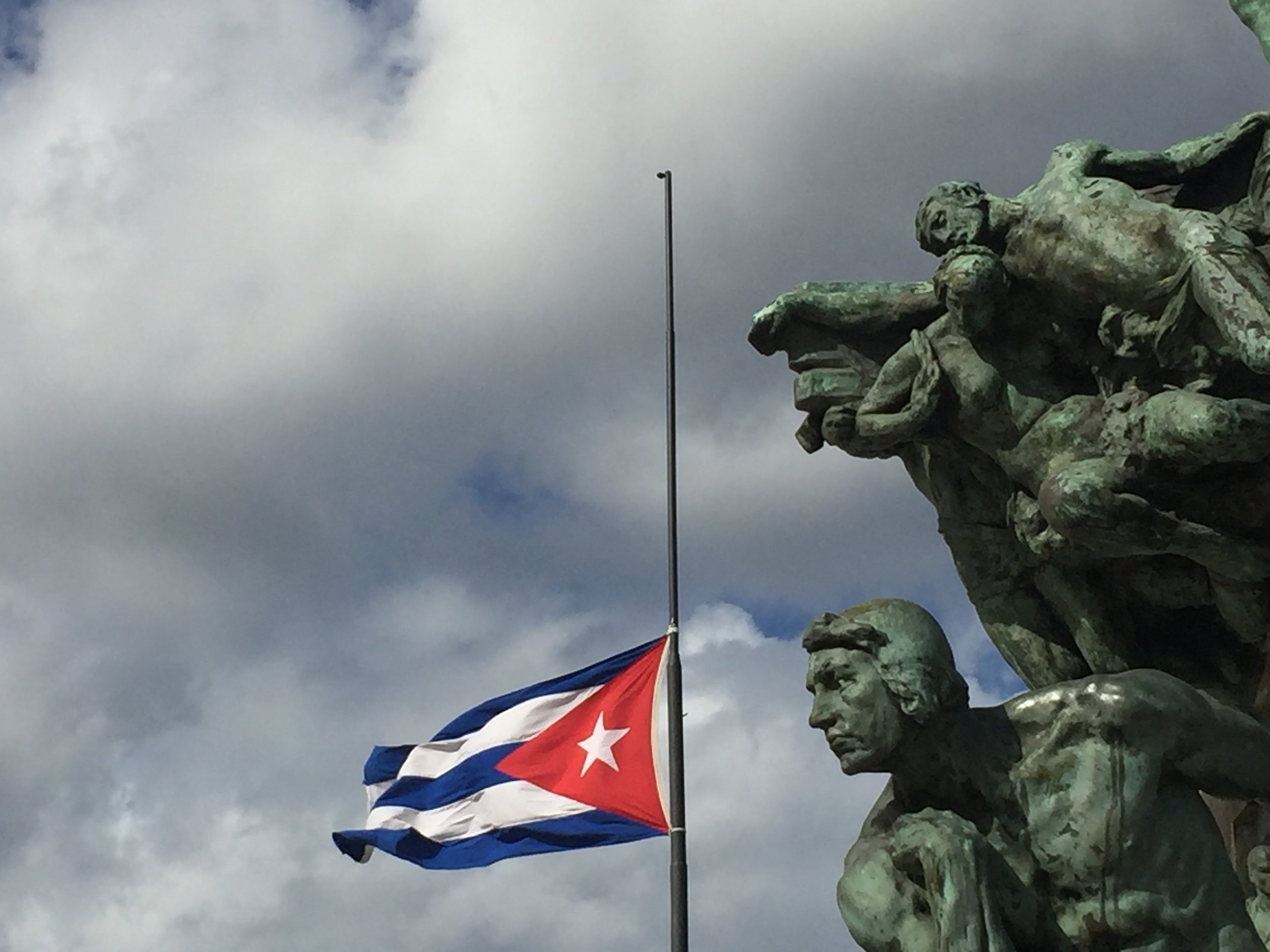 The Cuban flag at the Parque Antonio Maceo, along Havana's famous Malecón.